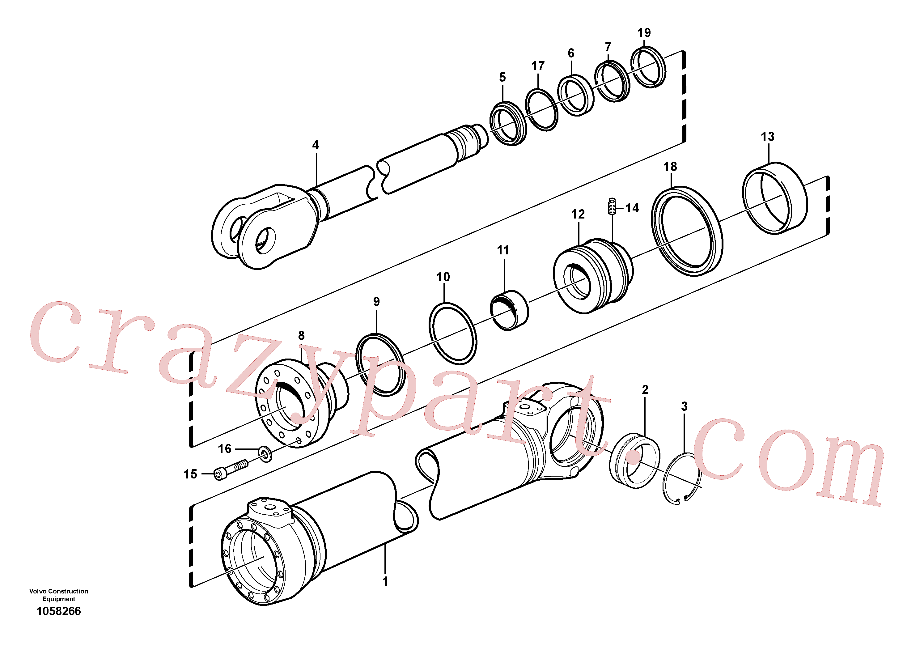 VOE11088148 for Volvo Hydraulic cylinder(1058266 assembly)
