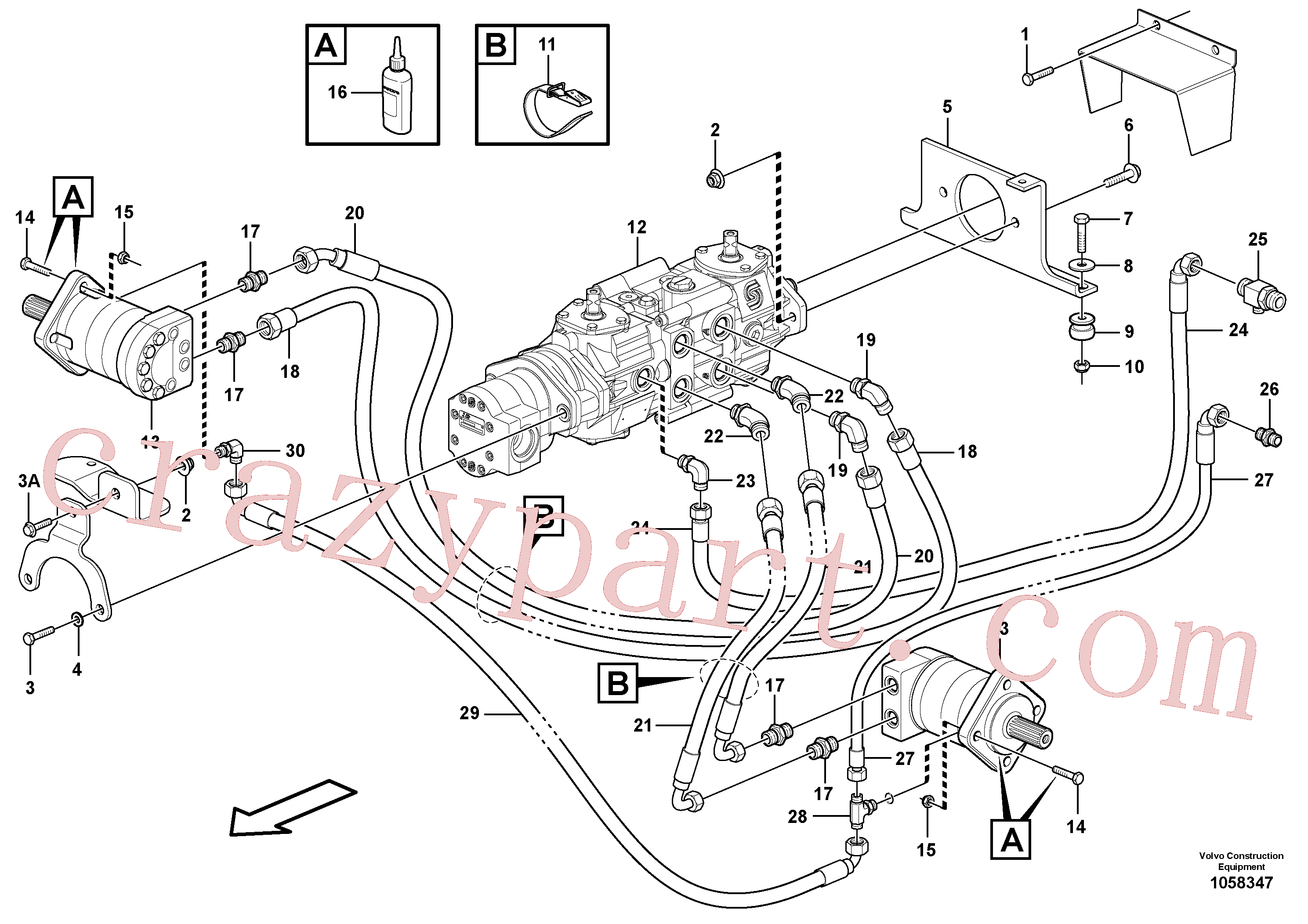 VOE982220 for Volvo Hydraulic system Transport(1058347 assembly)