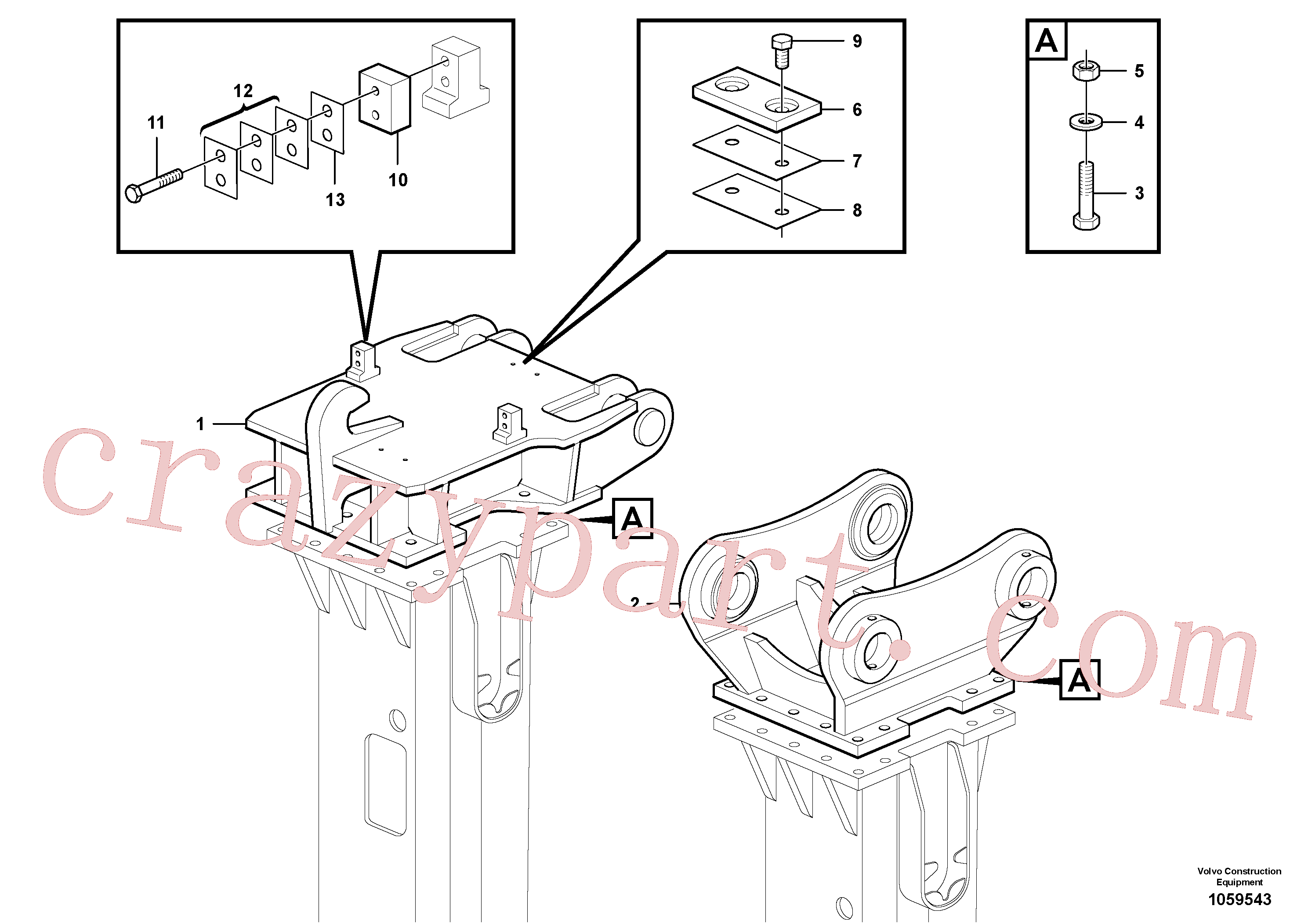 VOE14539935 for Volvo Hammer plate(1059543 assembly)