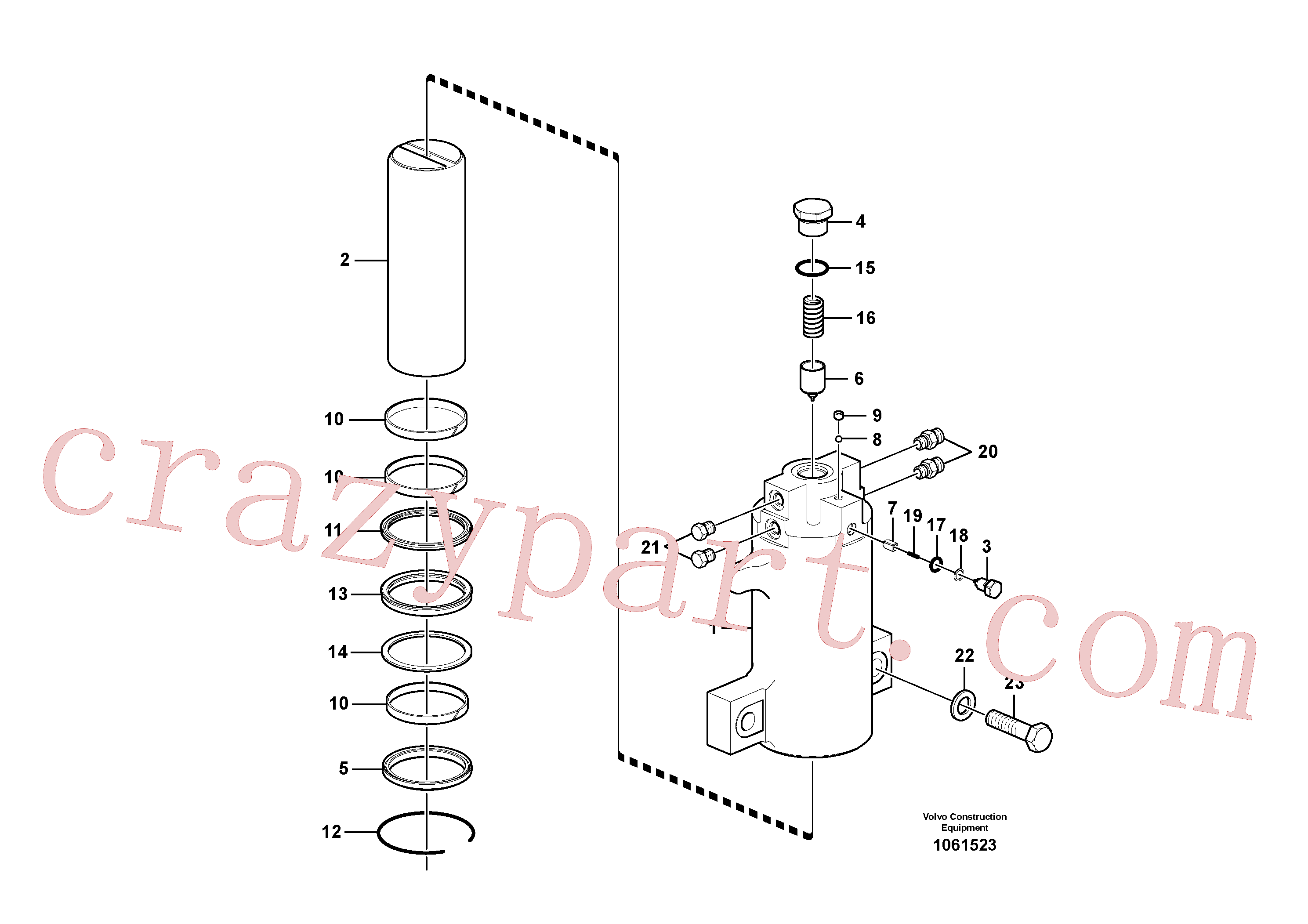 VOE14884913 for Volvo Axle locking cylinder(1061523 assembly)