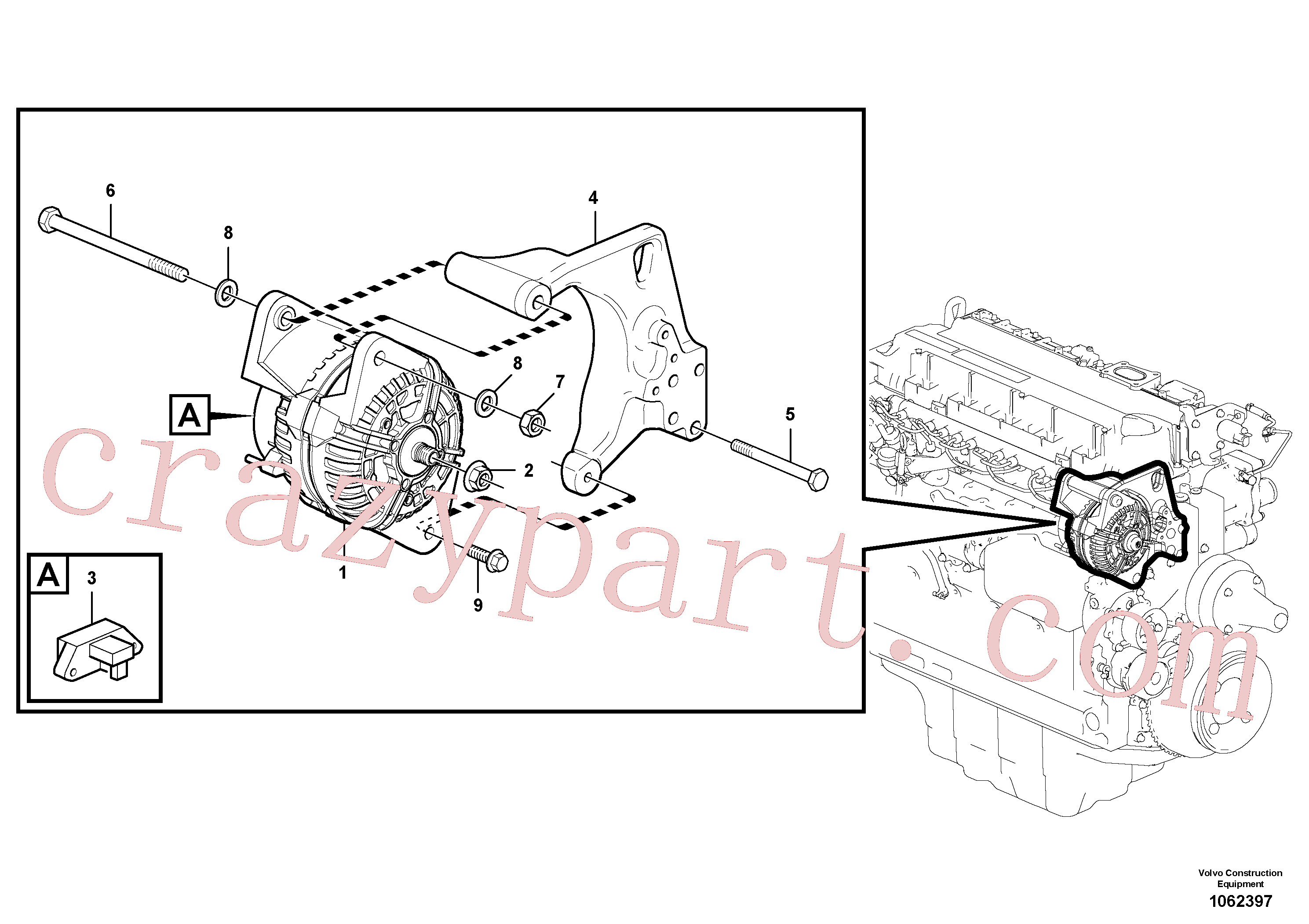 VOE14717989 for Volvo Alternator with assembling details(1062397 assembly)