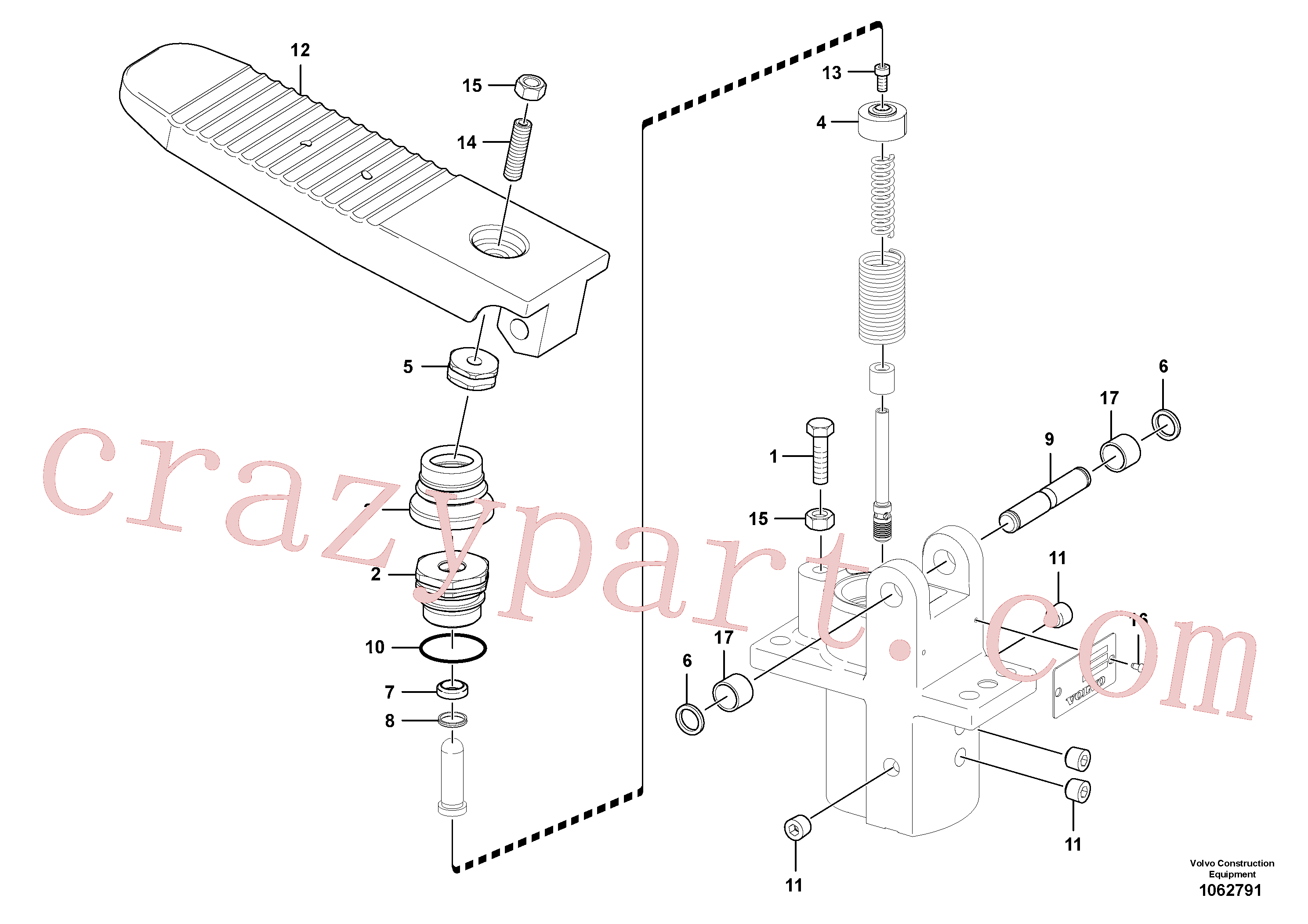 ZM7095519 for Volvo Remote control valve pedal, travel motor(1062791 assembly)