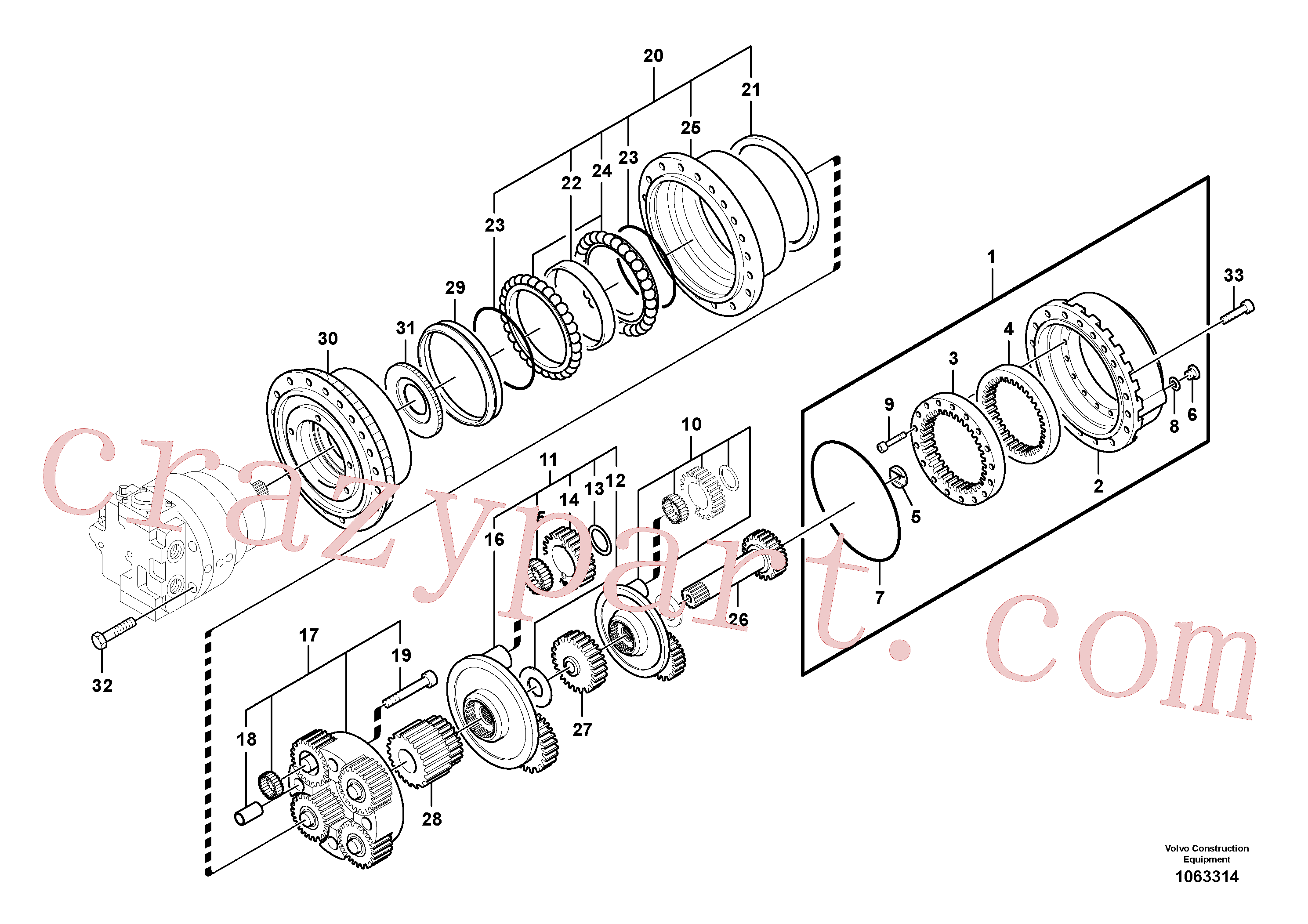 SA8230-22080 for Volvo Travel gearbox(1063314 assembly)