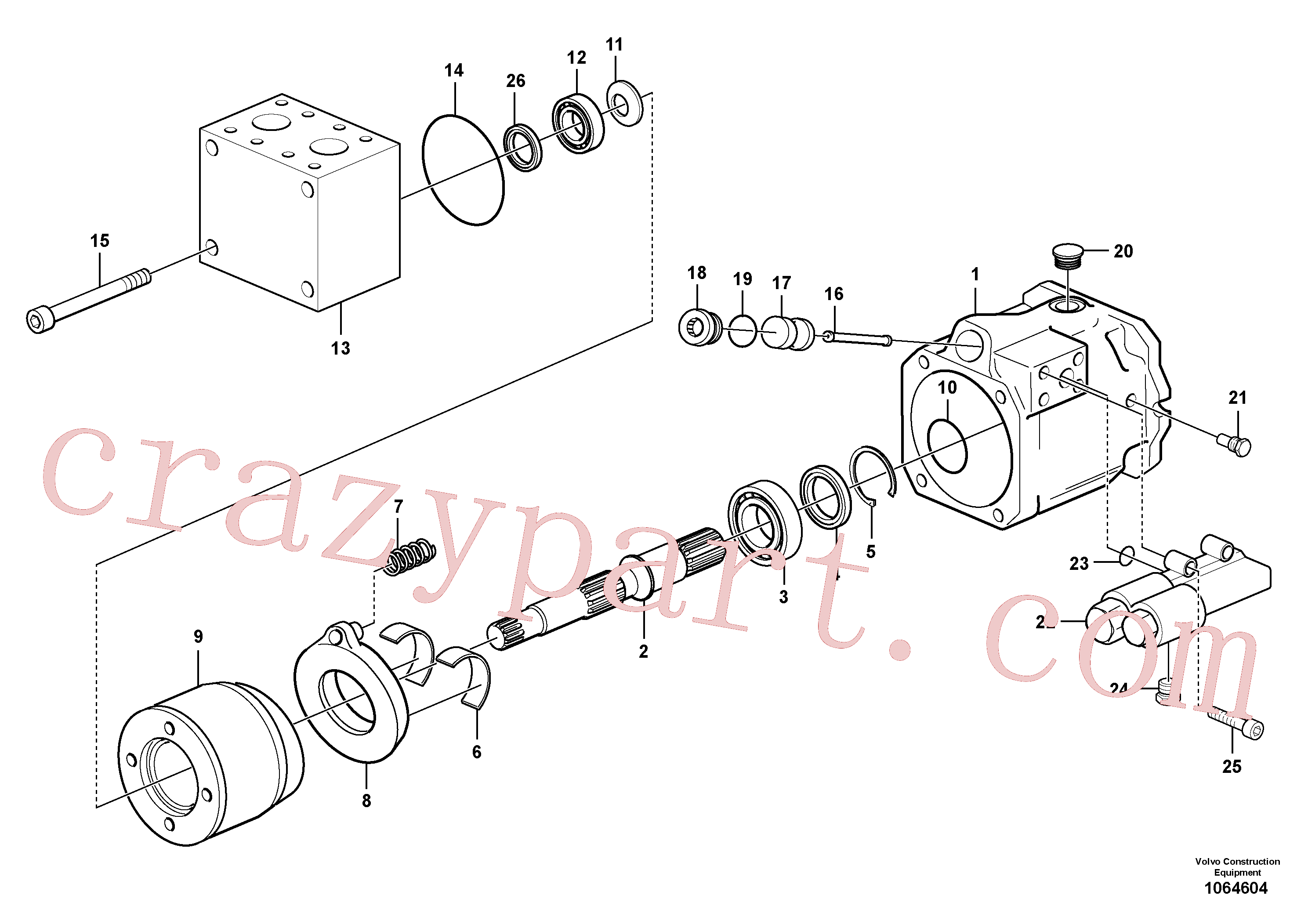 PJ7412842 for Volvo Hydraulic pump(1064604 assembly)
