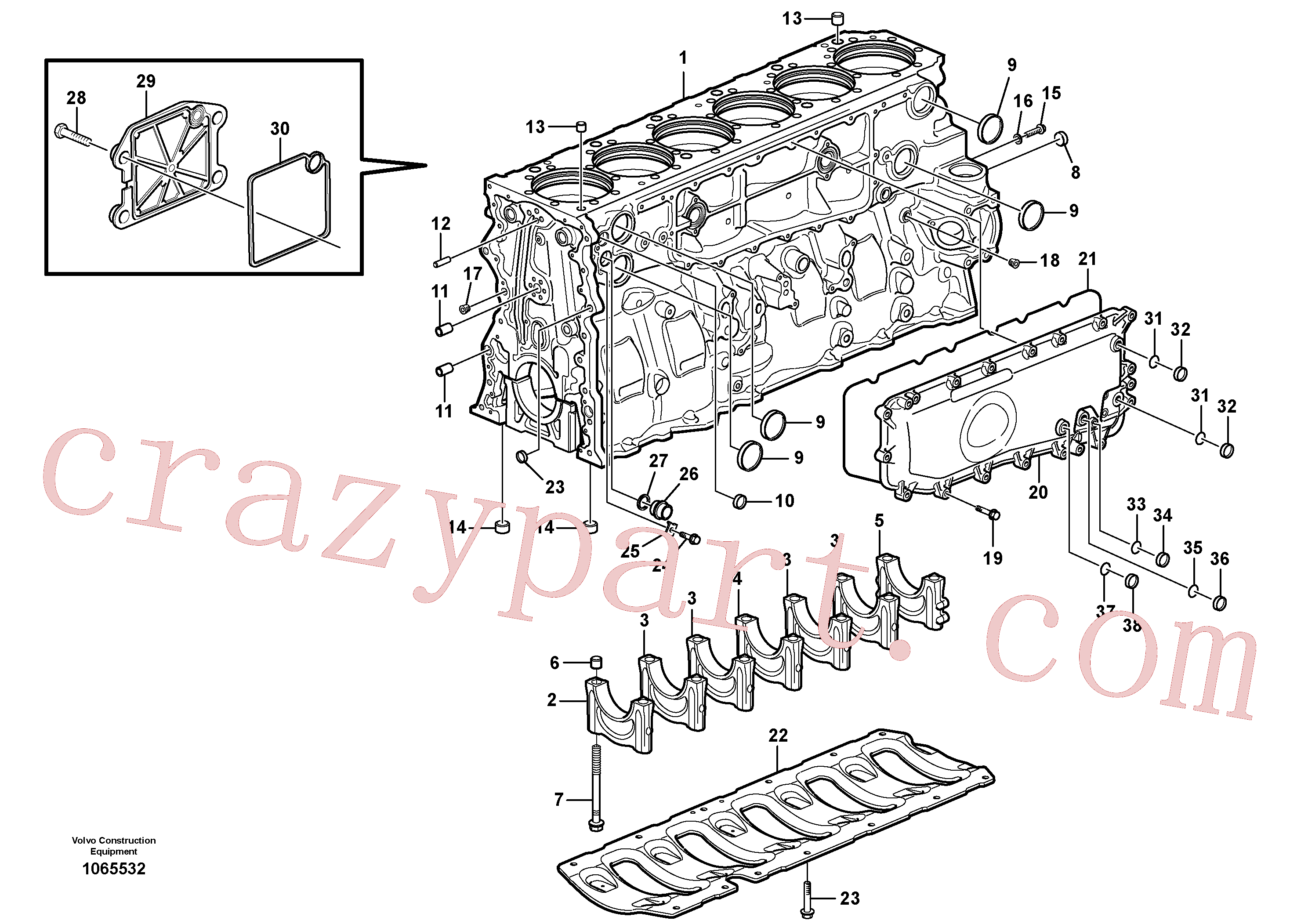 VOE1547255 for Volvo Cylinder block(1065532 assembly)