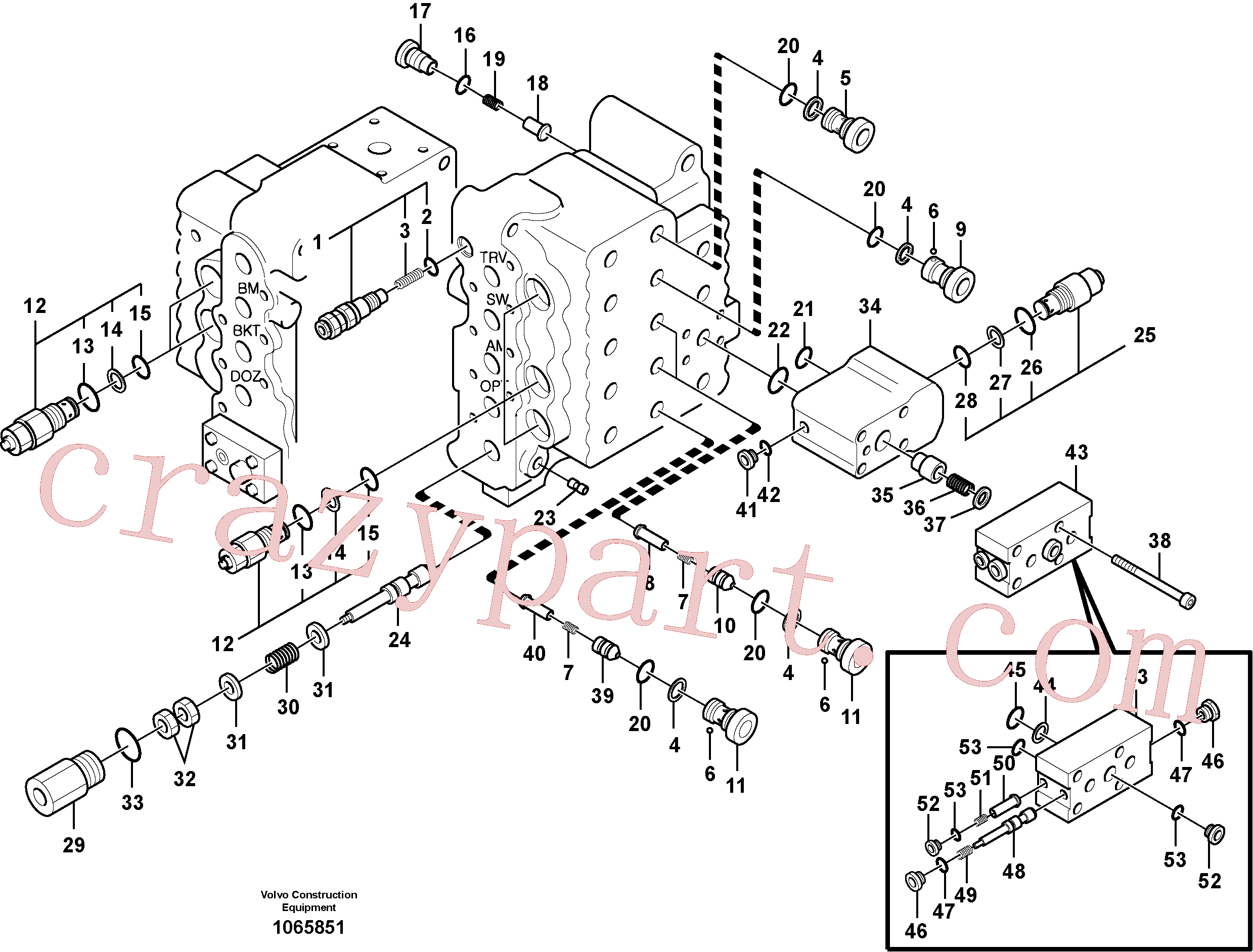 SA8230-13140 for Volvo Main control valve, relief valve and dipper arm holding(1065851 assembly)