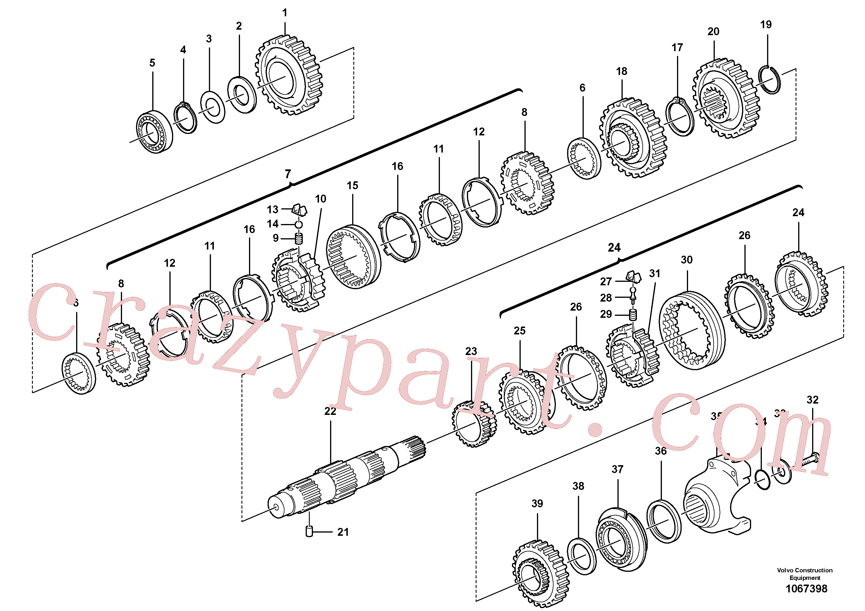 VOE11709080 for Volvo Secondary shaft(1067398 assembly)