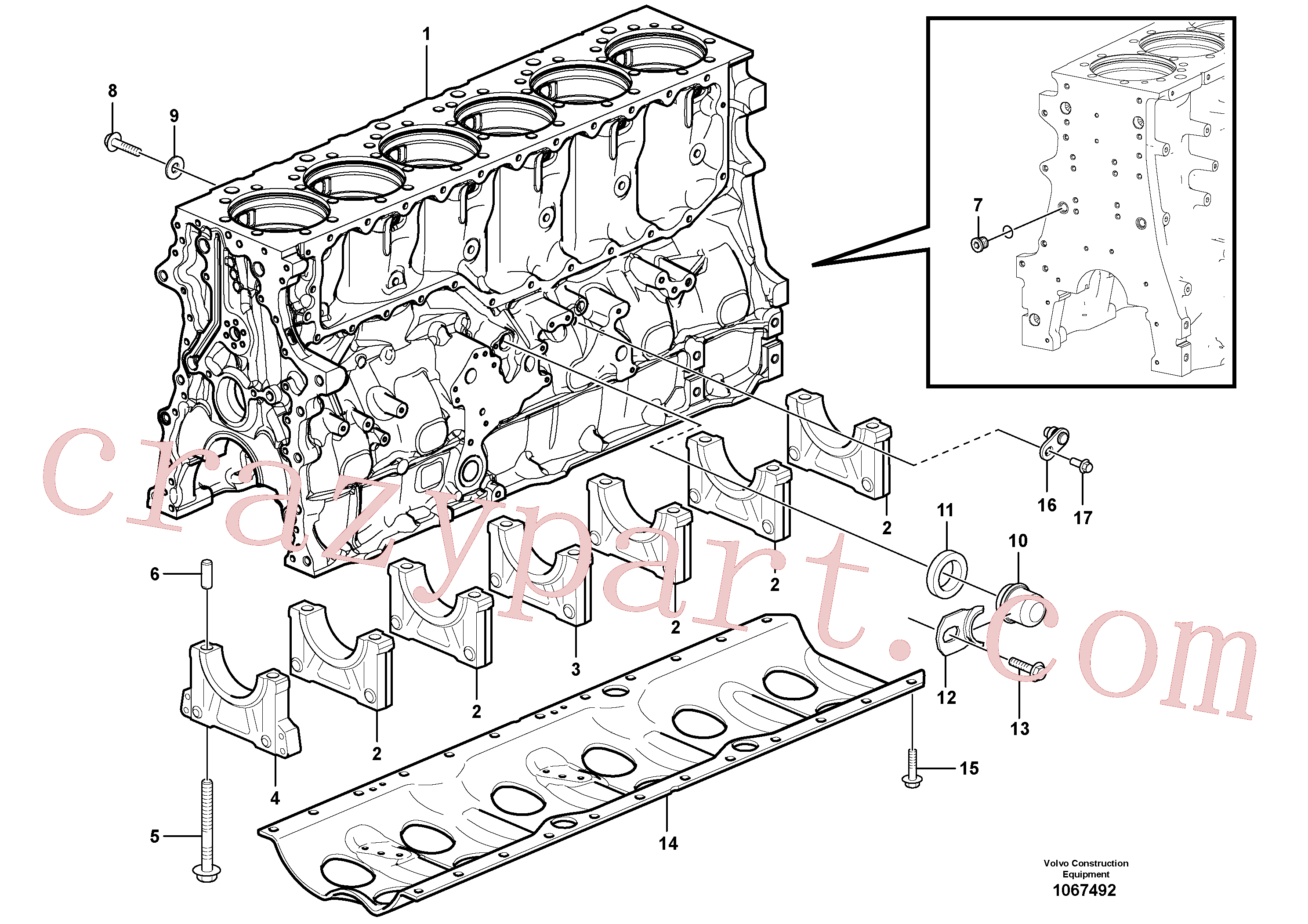 VOE1547255 for Volvo Cylinder block(1067492 assembly)