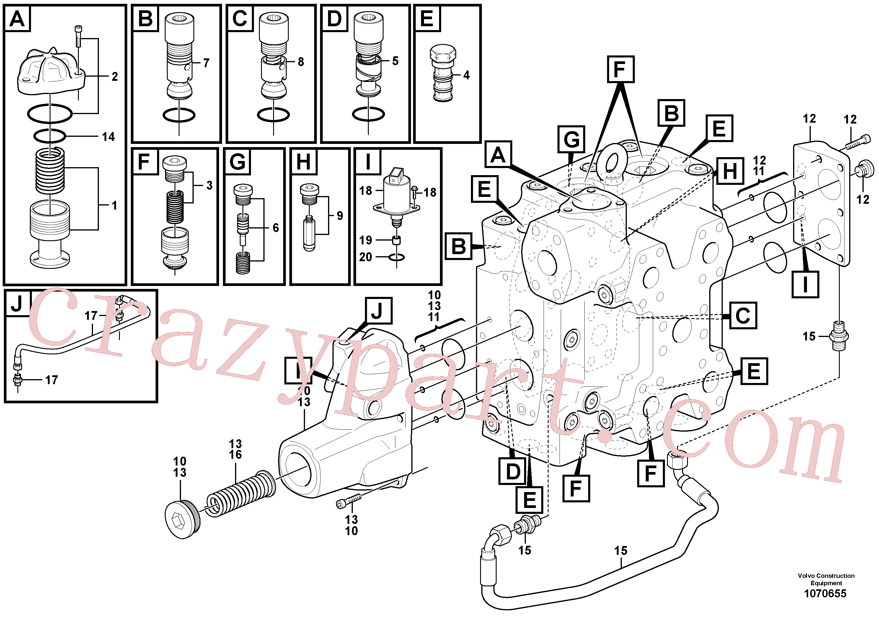 VOE11705097 for Volvo Control valve(1070655 assembly)