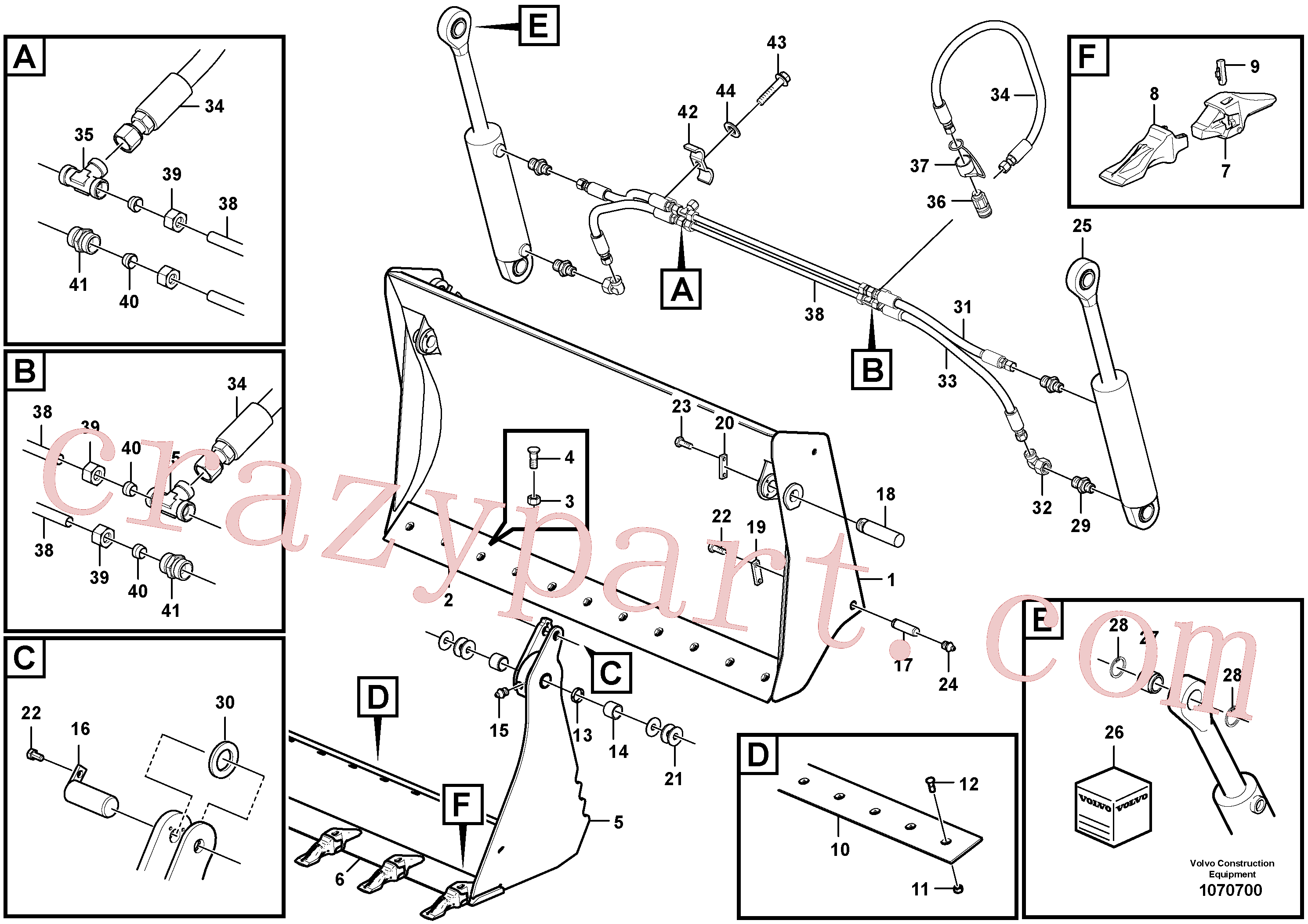 ZM7092963 for Volvo Multi-purpose bucket(1070700 assembly)