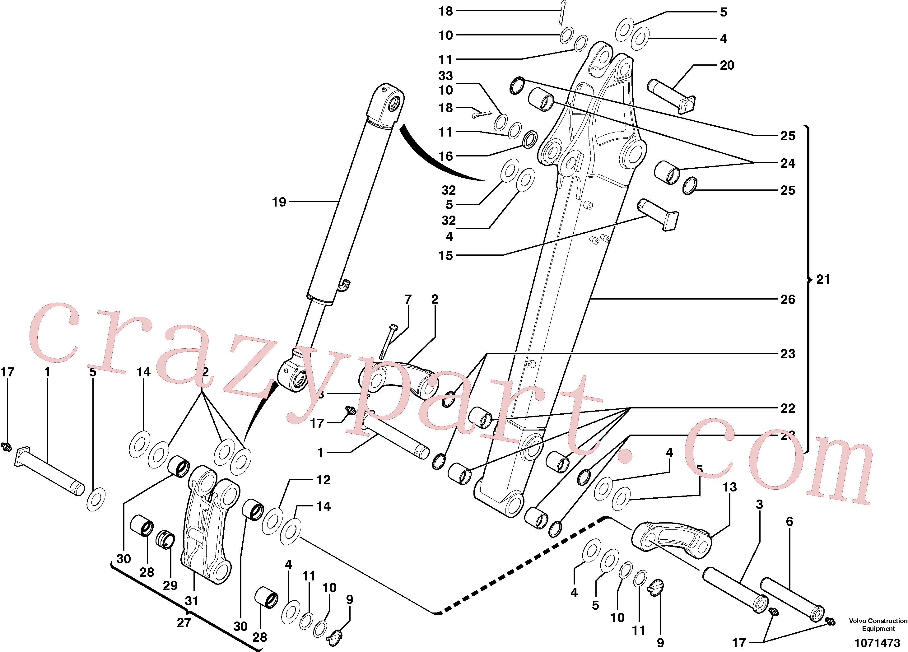 VOE11802237 for Volvo Dipper arm(1071473 assembly)