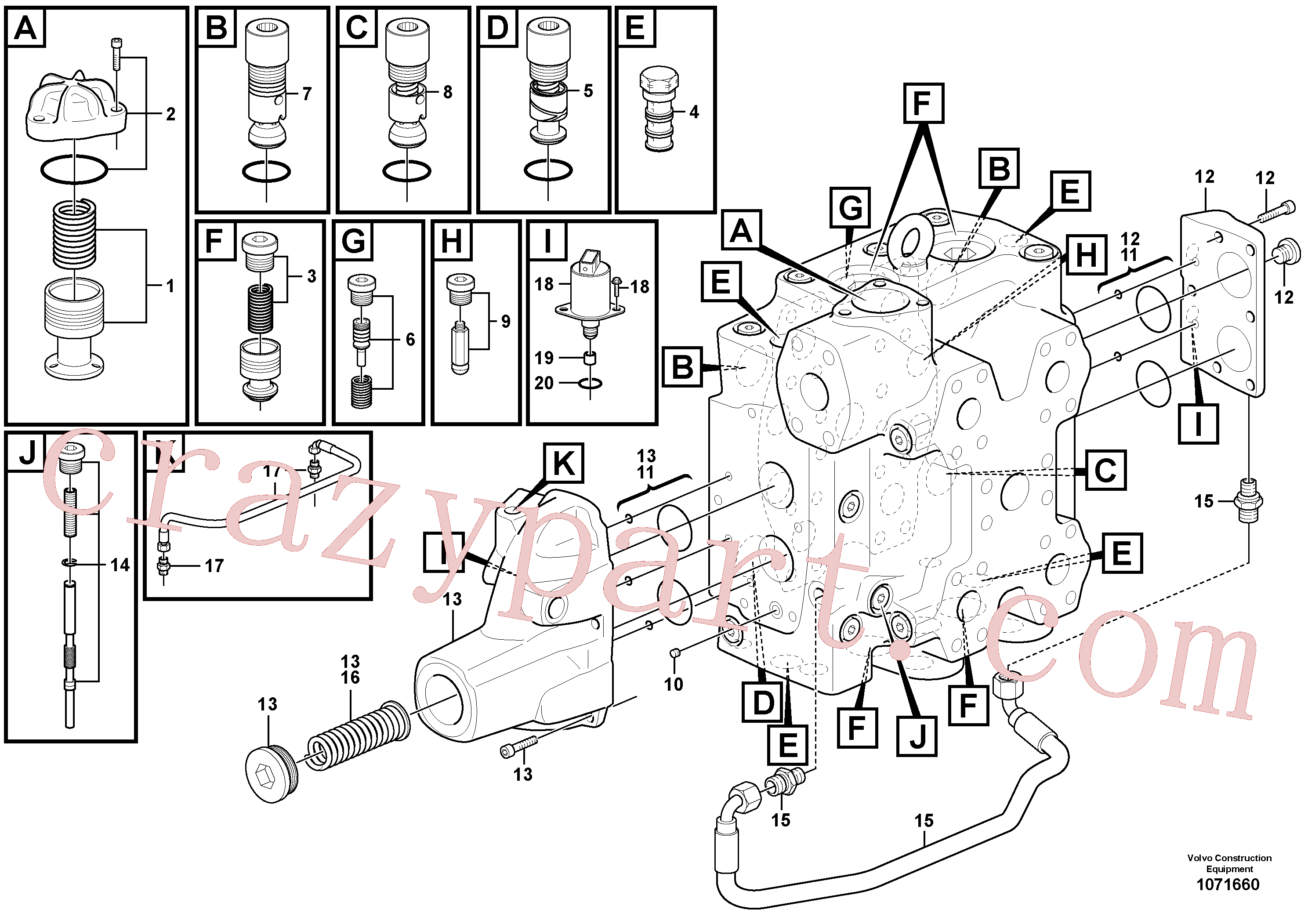VOE11705097 for Volvo Control valve(1071660 assembly)