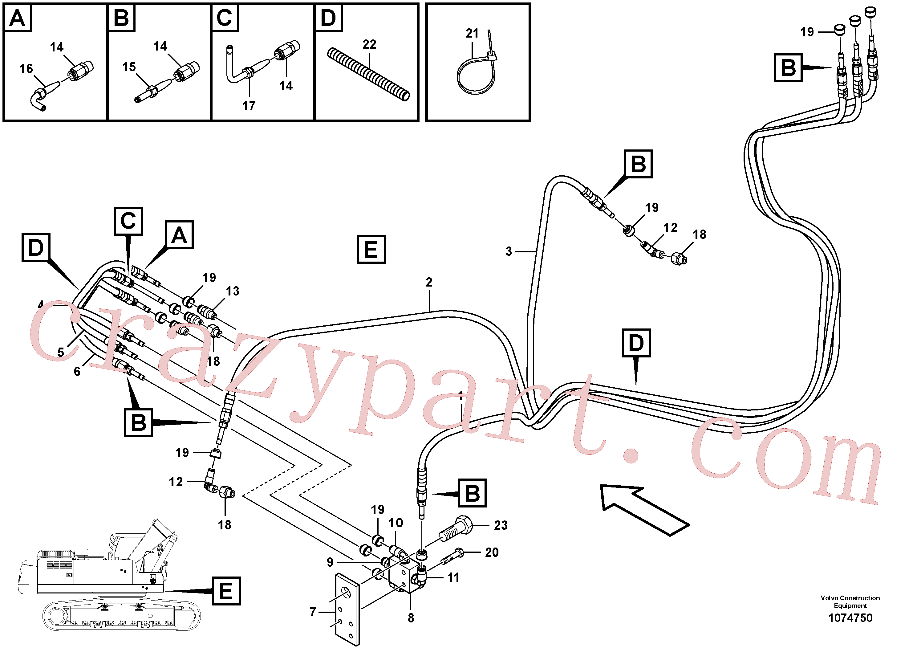VOE14599206 for Volvo Automatic lubrication system, swing gear and boom cylinder(1074750 assembly)