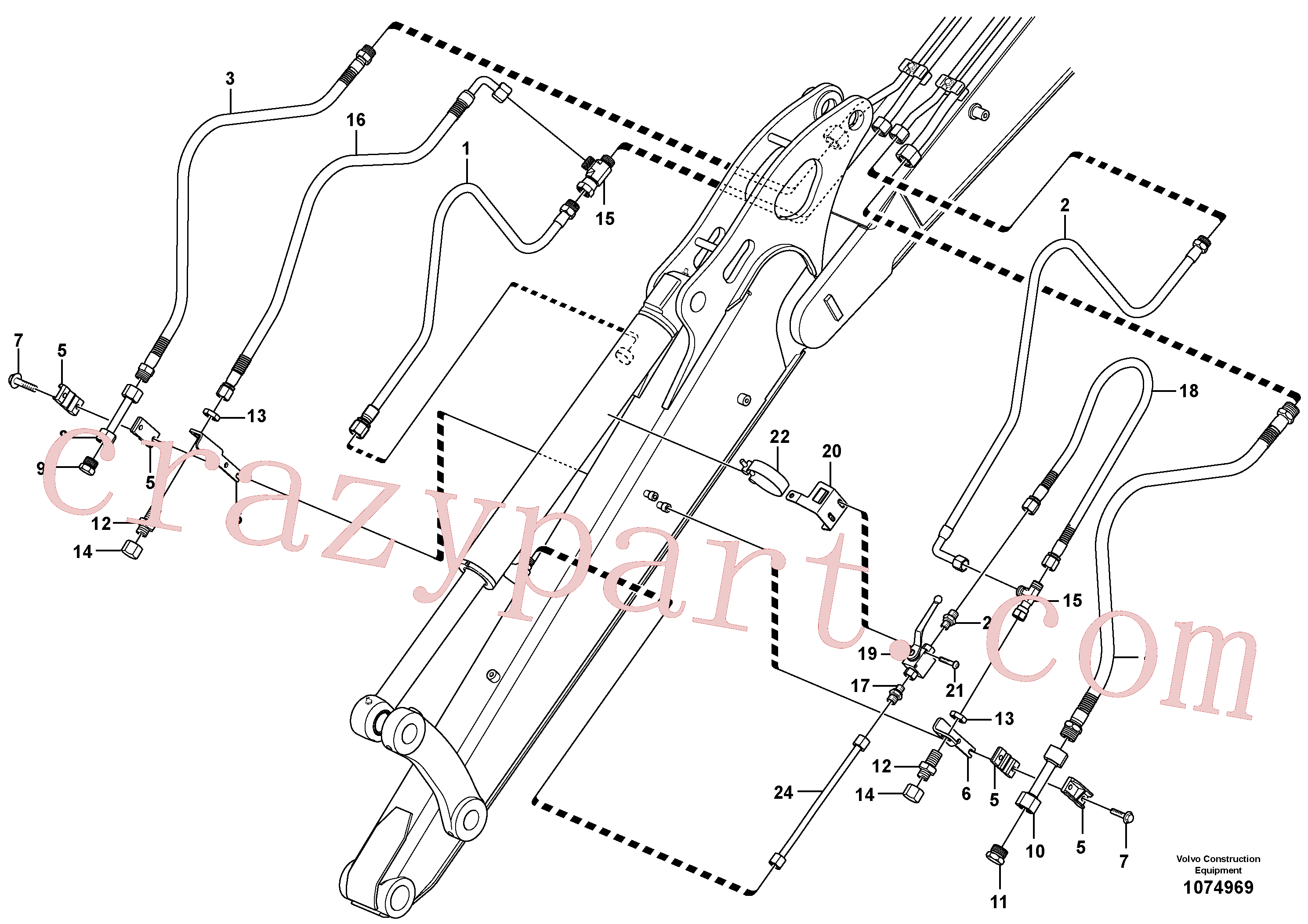 PJ4690782 for Volvo Working hydraulic, dipper arm(1074969 assembly)