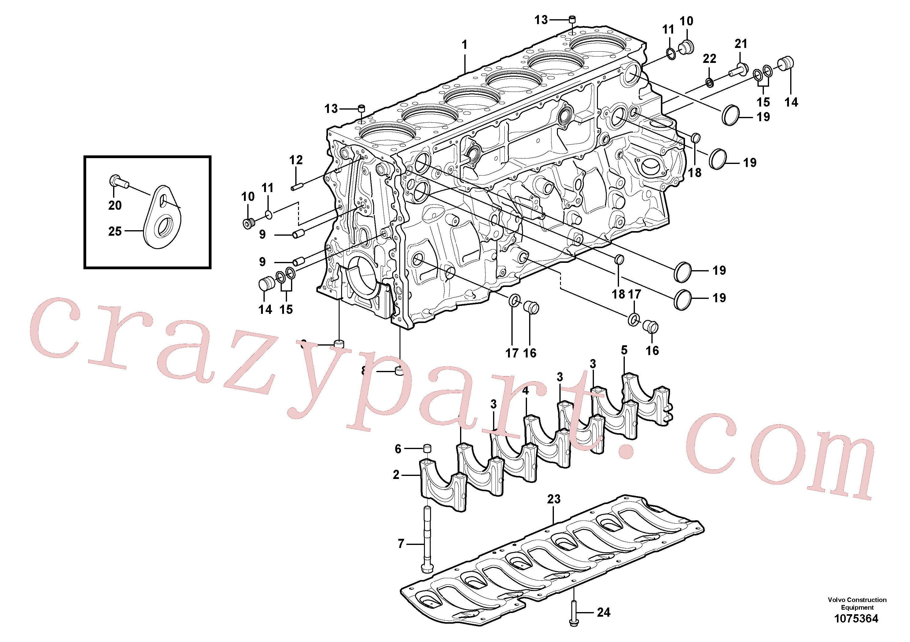 VOE1547255 for Volvo Cylinder block(1075364 assembly)