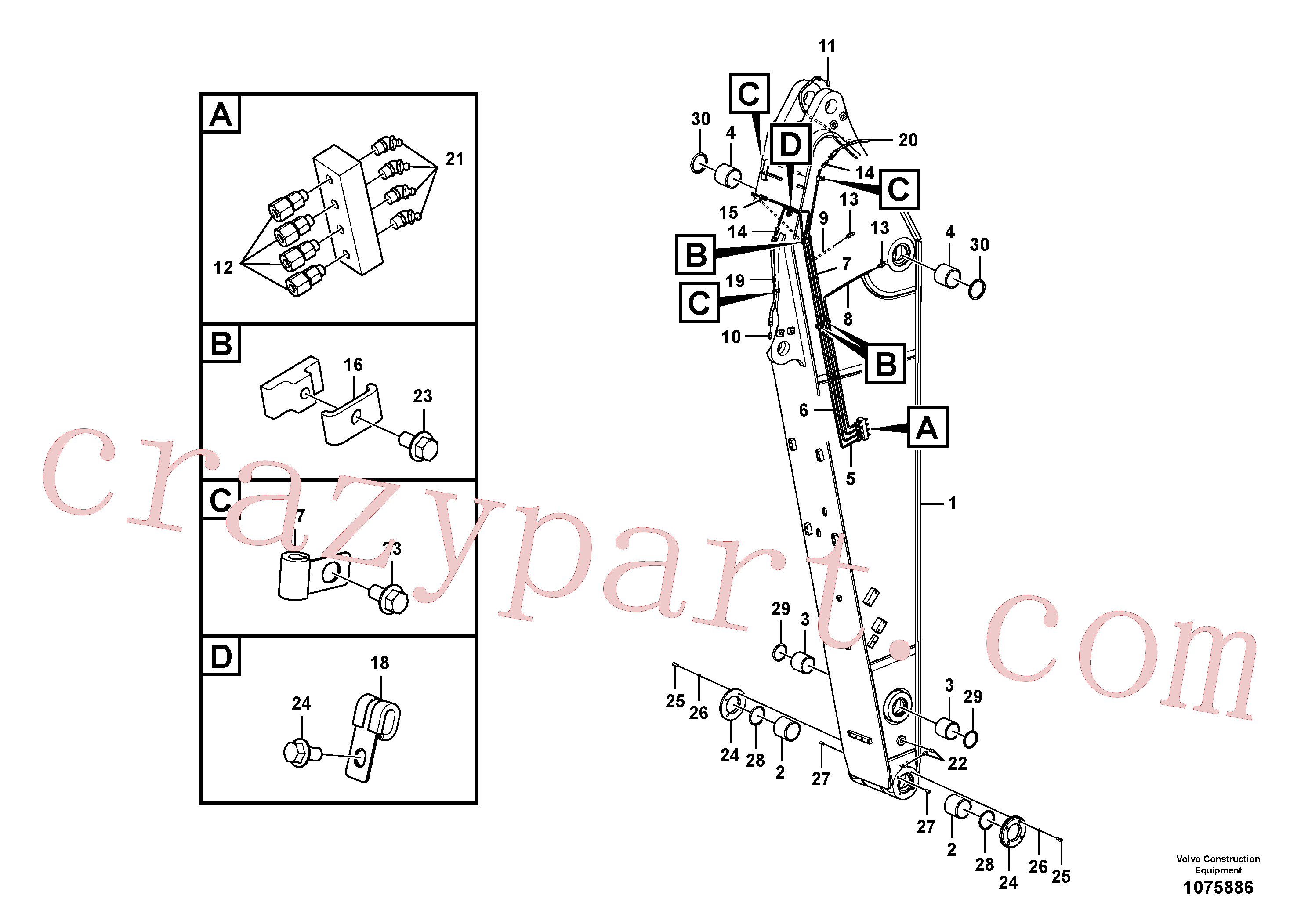 VOE14697375 for Volvo Dipper arm and grease piping with piping seat(1075886 assembly)