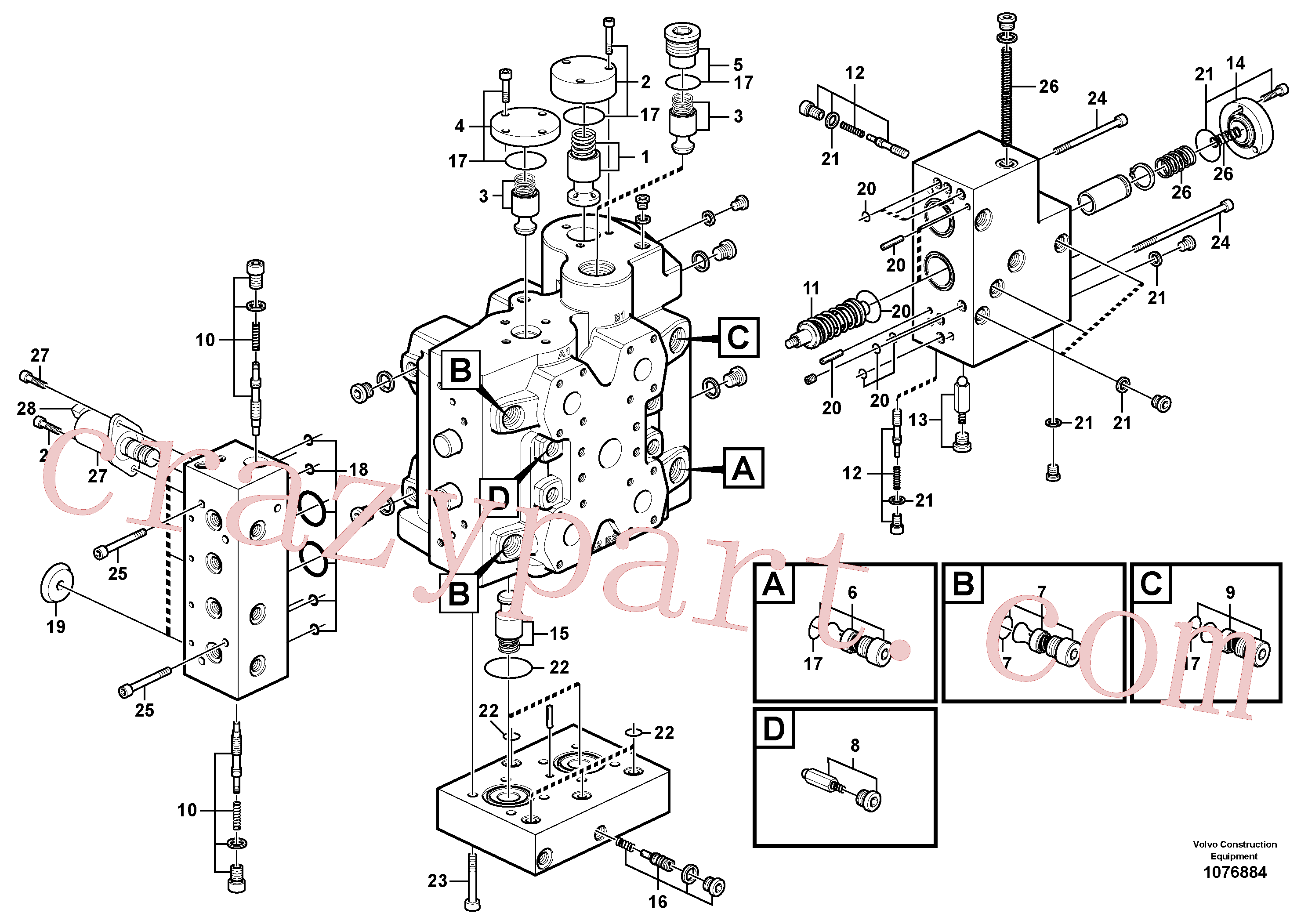 VOE11705097 for Volvo Control valve(1076884 assembly)