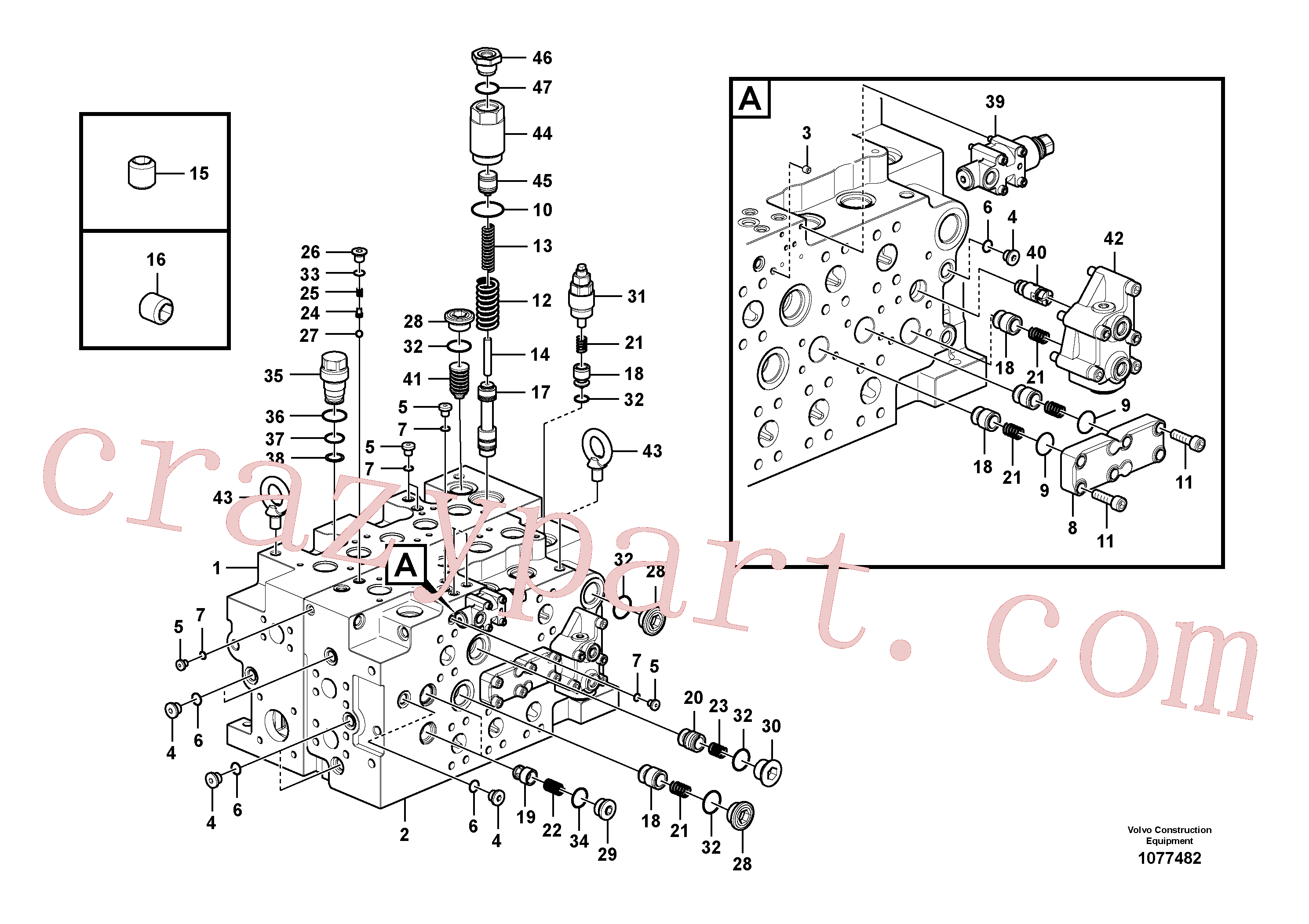 VOE14577735 for Volvo Main control valve(1077482 assembly)