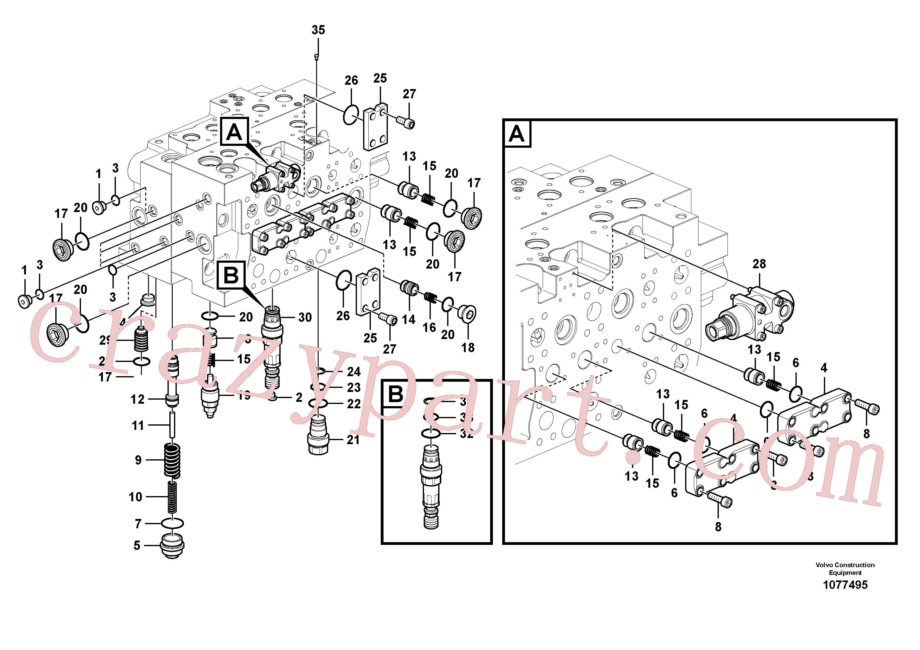 VOE14577735 for Volvo Main control valve(1077495 assembly)