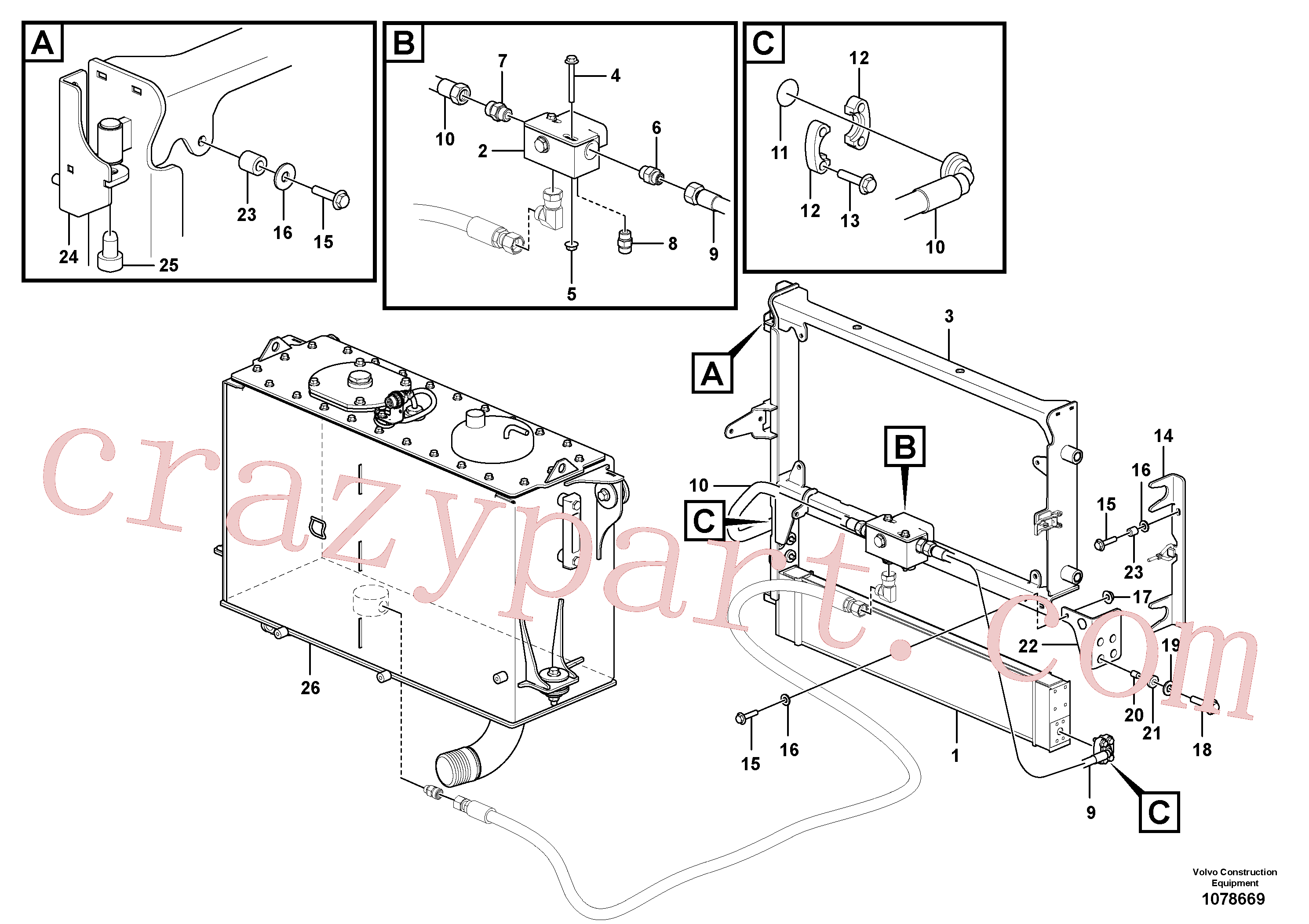 VOE17207510 for Volvo Oil cooler with hoses(1078669 assembly)