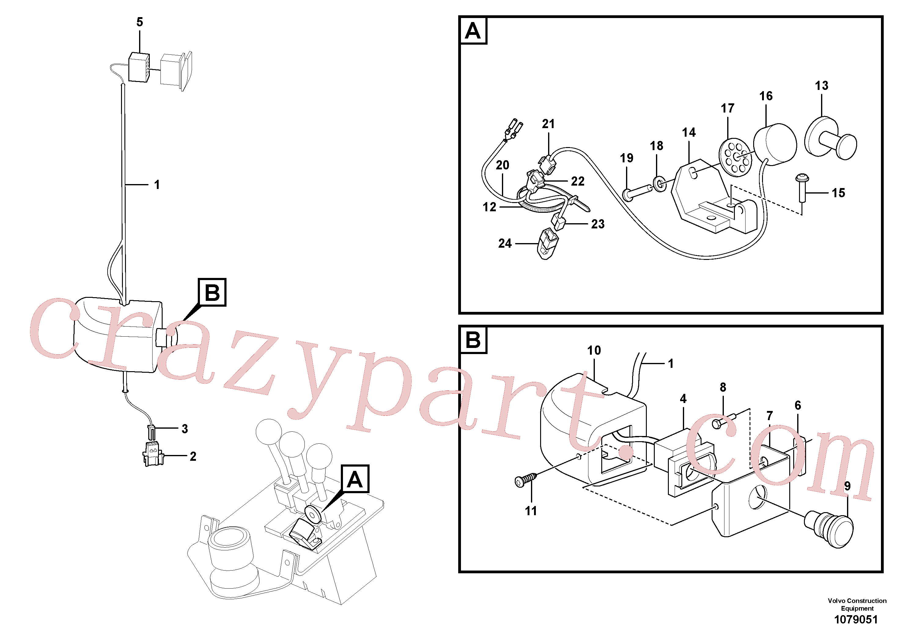 VOE13972108 for Volvo Cable harness, detent, 3rd hydraulic function(1079051 assembly)