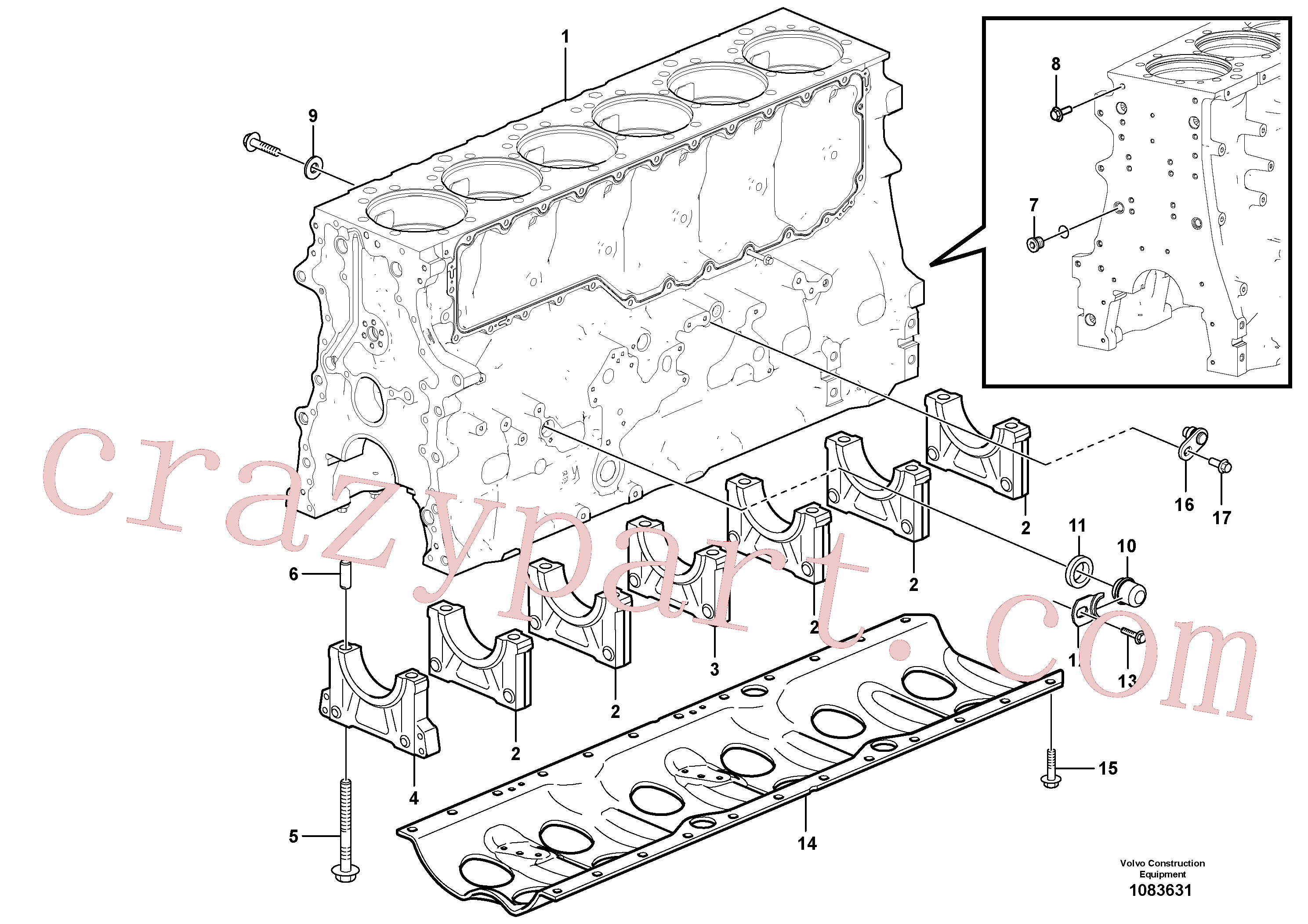VOE1547255 for Volvo Cylinder block(1083631 assembly)
