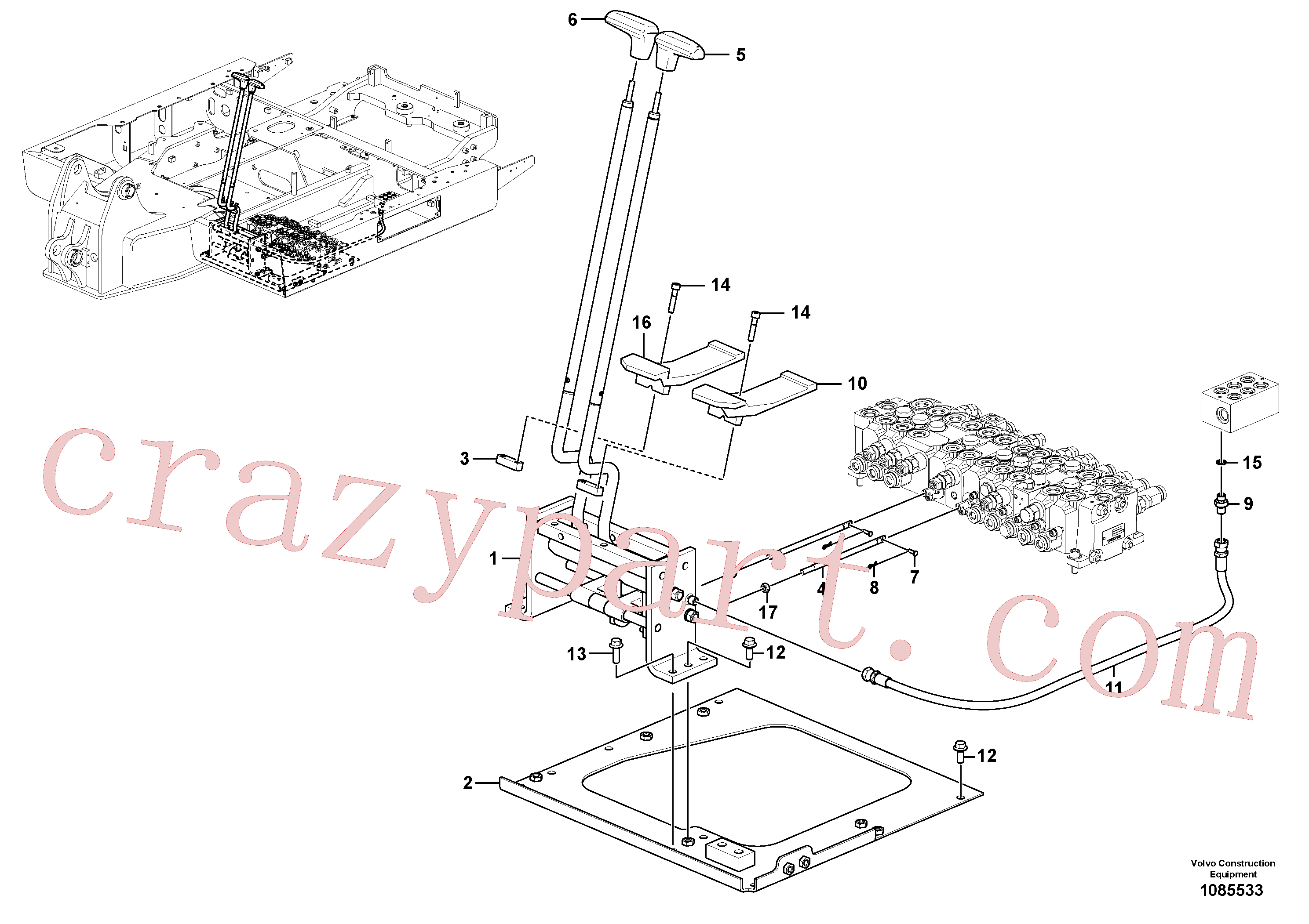 VOE14530446 for Volvo Remote control valve pedal with fitting parts(1085533 assembly)