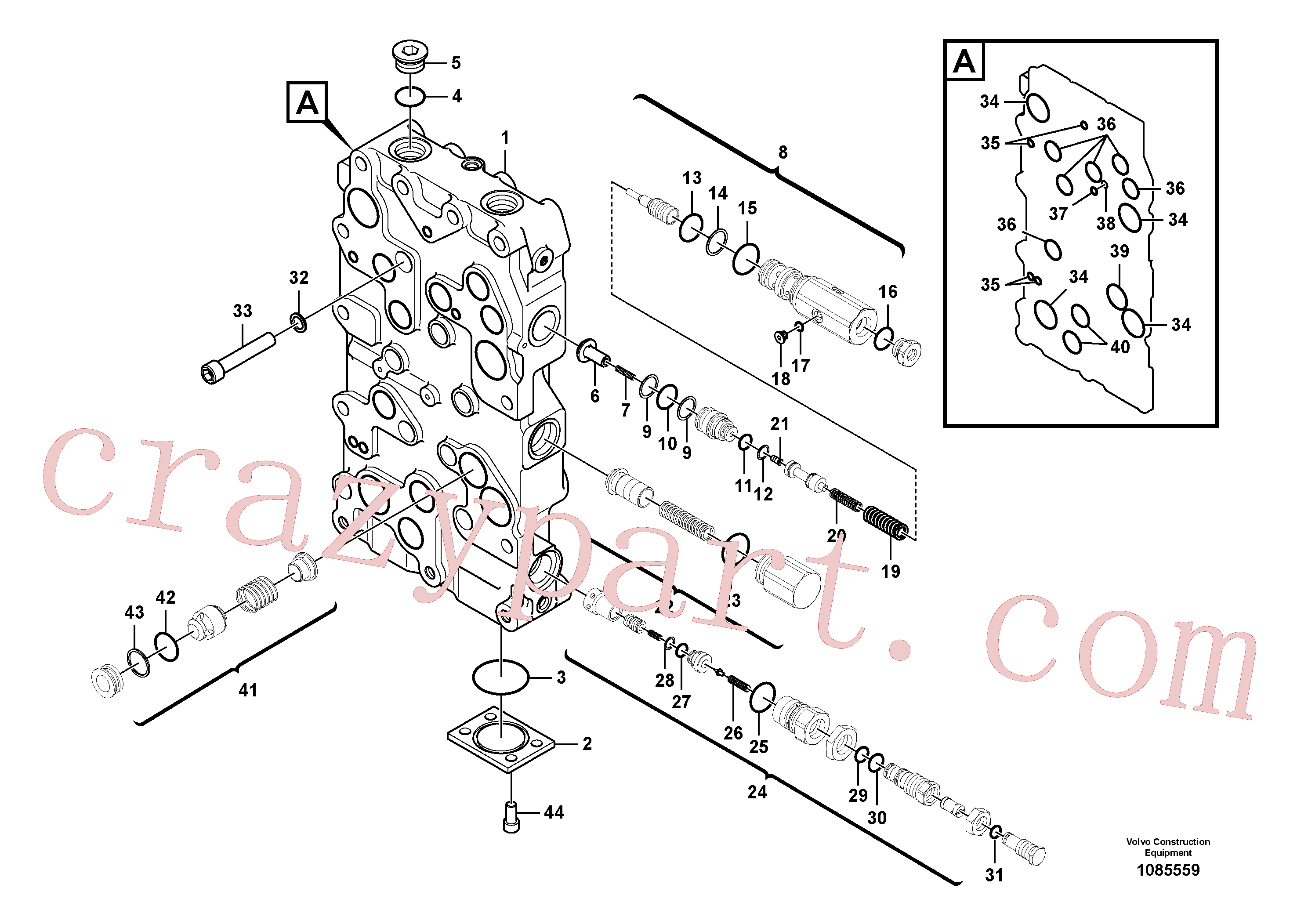 VOE983529 for Volvo Main control valve(1085559 assembly)