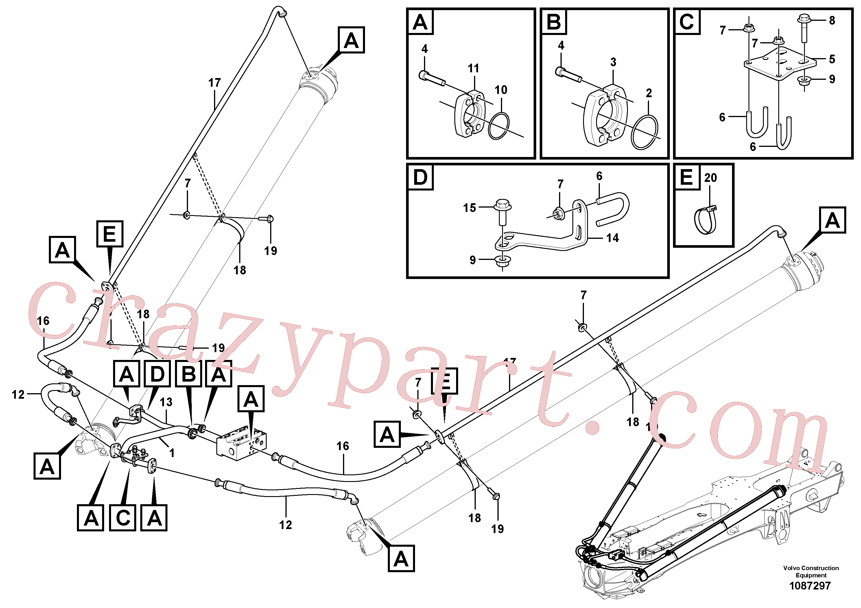 VOE948699 for Volvo Tipping system, load unit(1087297 assembly)