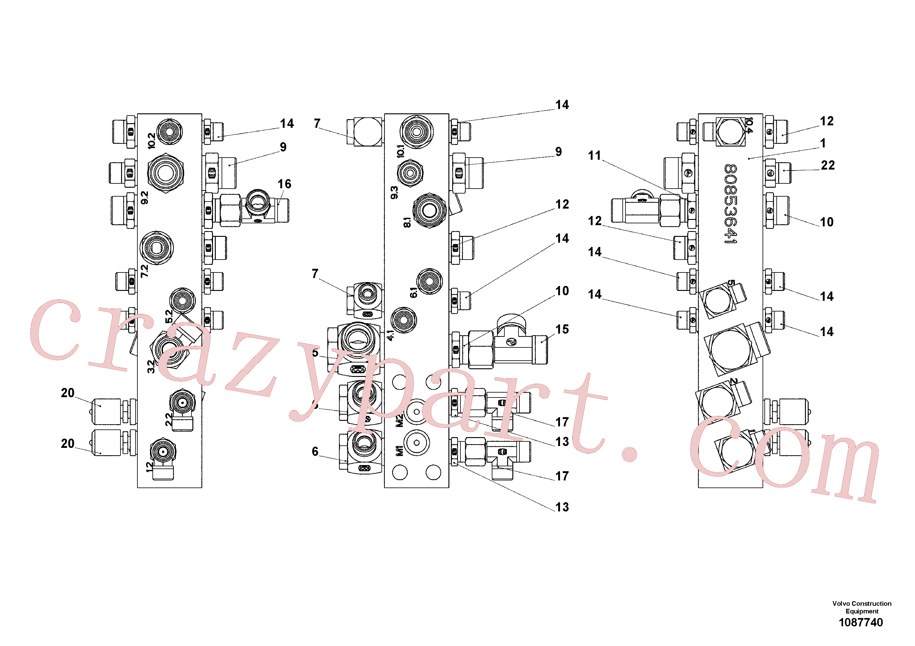 RM58833856 for Volvo Connection block, Connection block on basic screed(1087740 assembly)