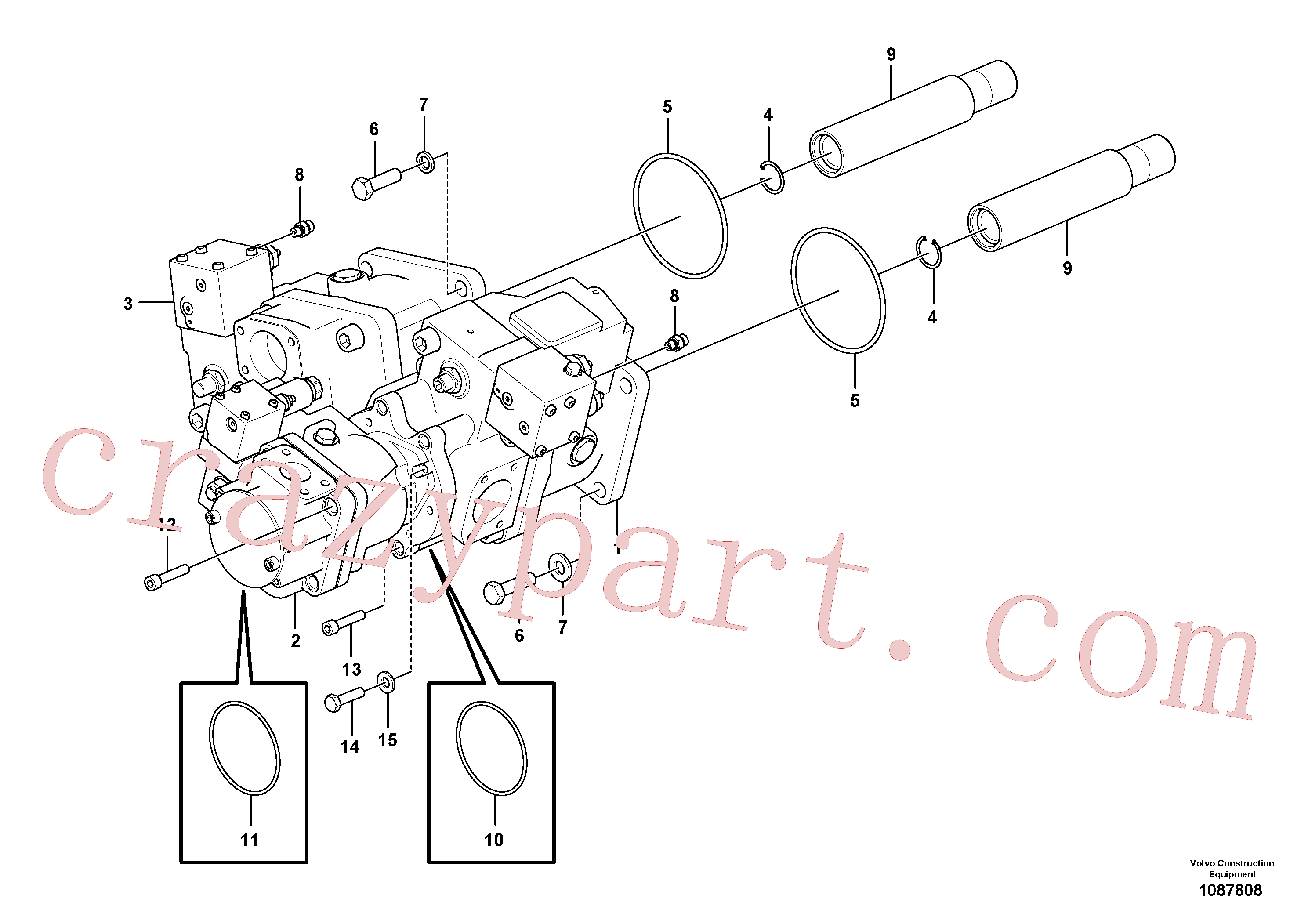VOE13960246 for Volvo Hydraulic pump with fitting parts(1087808 assembly)