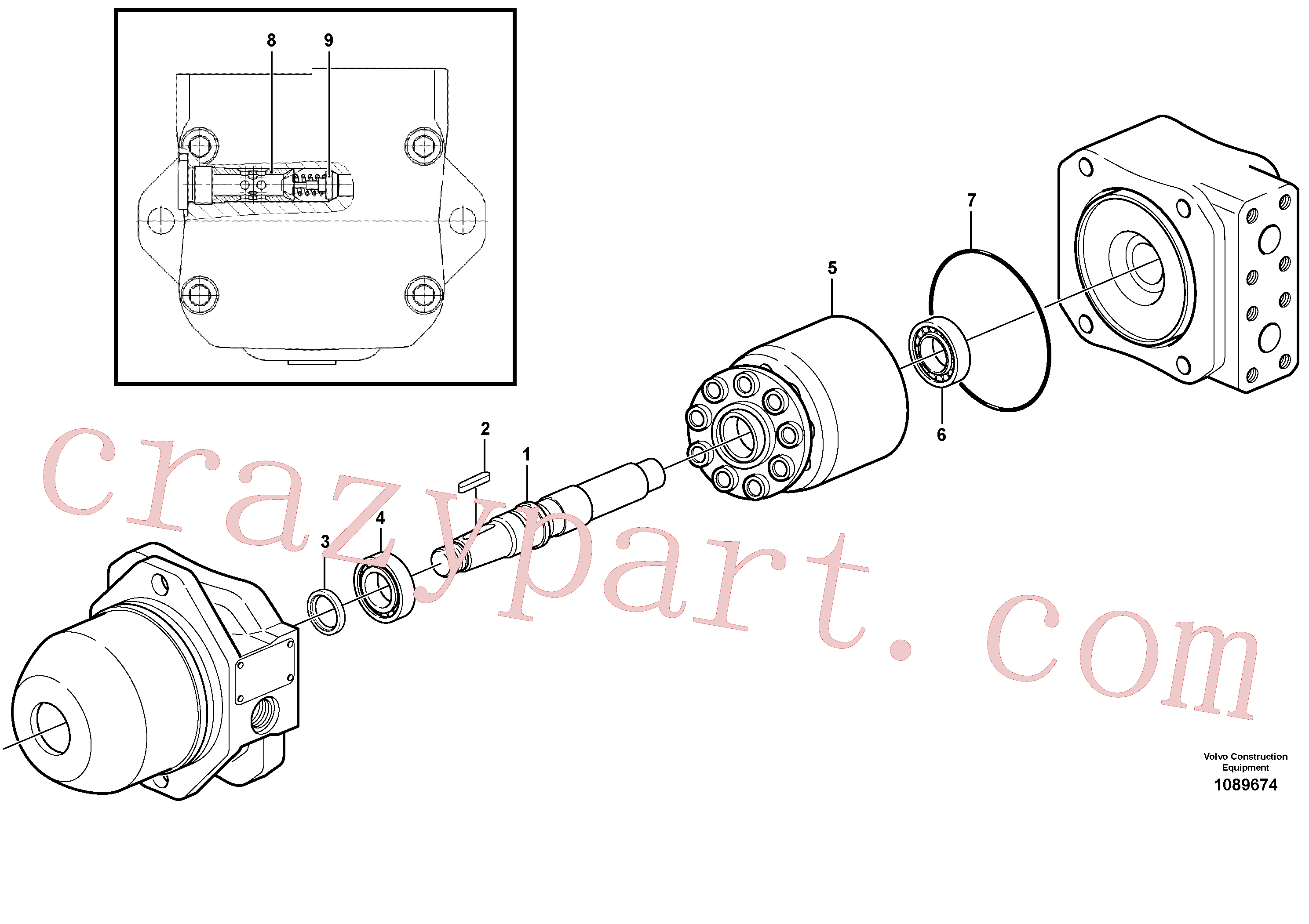 PJ7412842 for Volvo Hydraulic motor.(1089674 assembly)