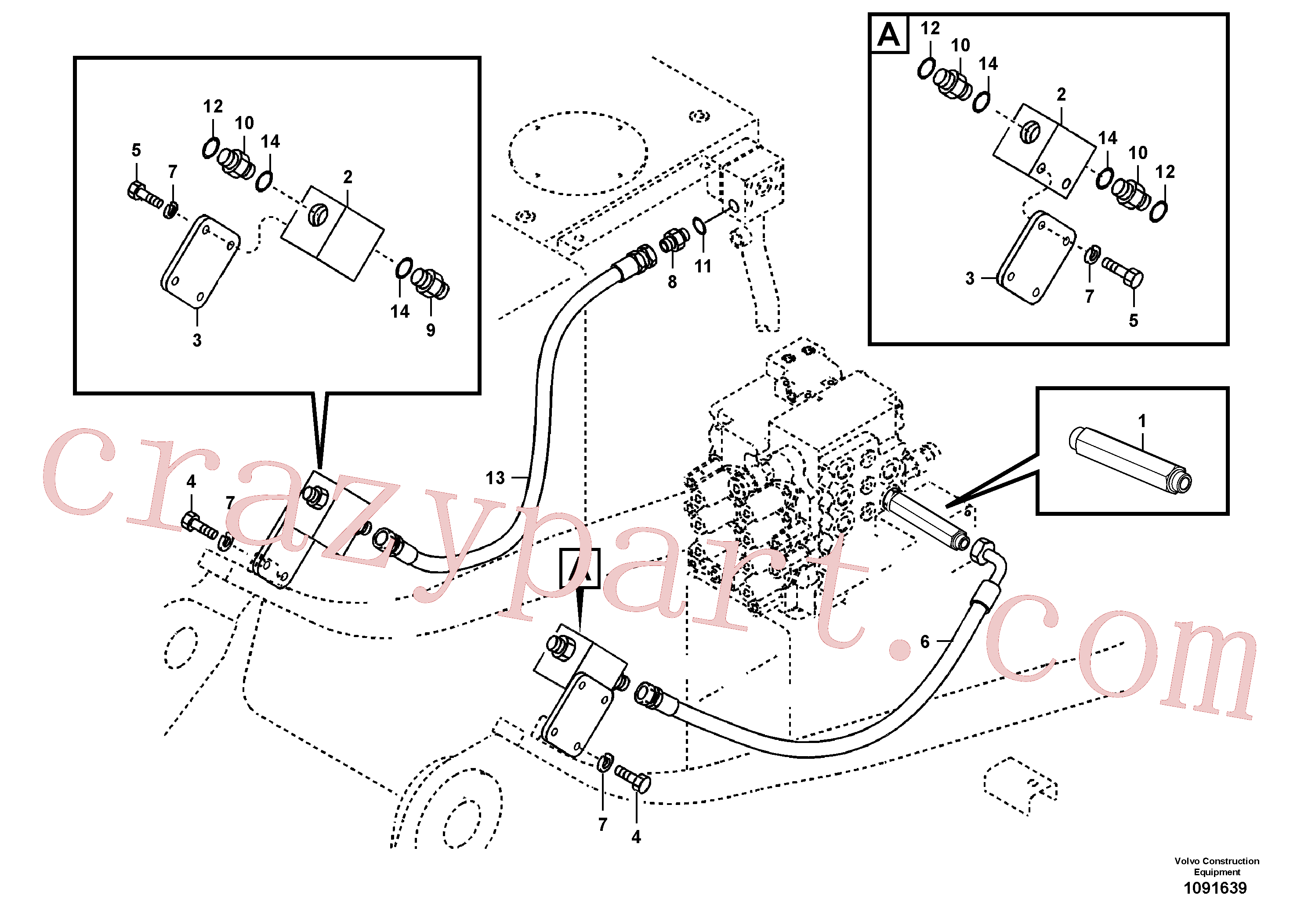 SA9412-11180 for Volvo Working hydraulic, hammer and shear for upper(1091639 assembly)