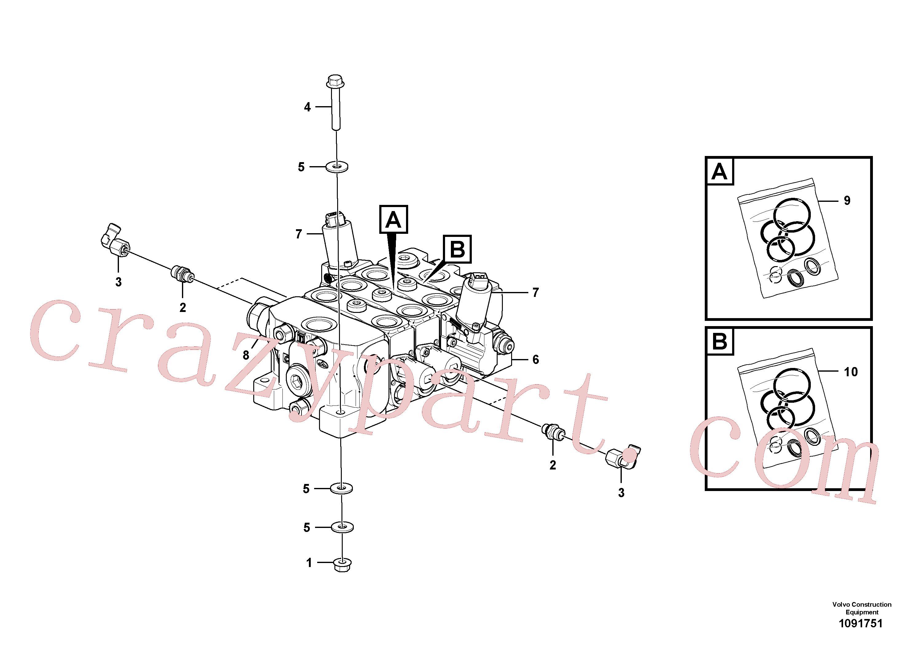 VOE11370781 for Volvo Control valve with fitting parts.(1091751 assembly)