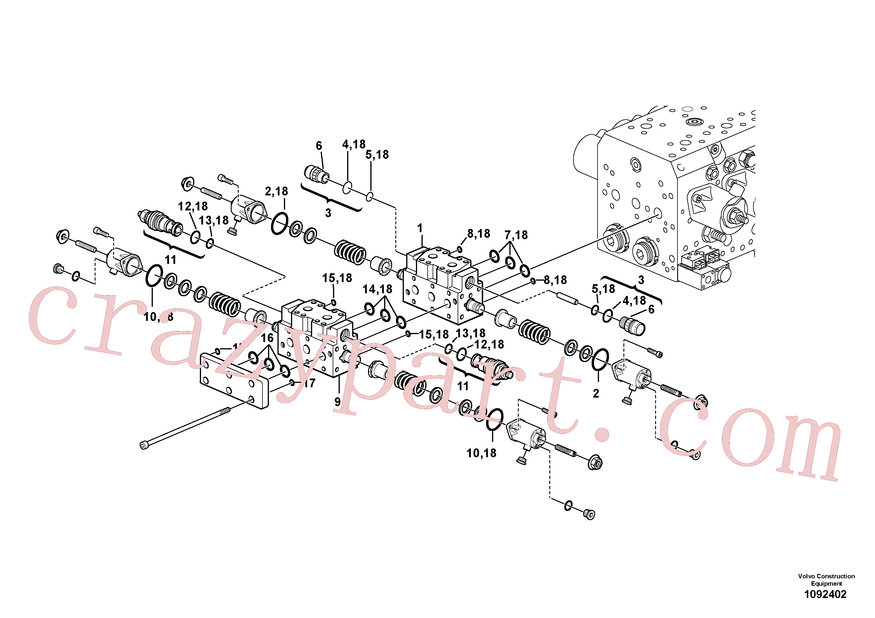 VOE17261943 for Volvo Hydraulic valve.(1092402 assembly)