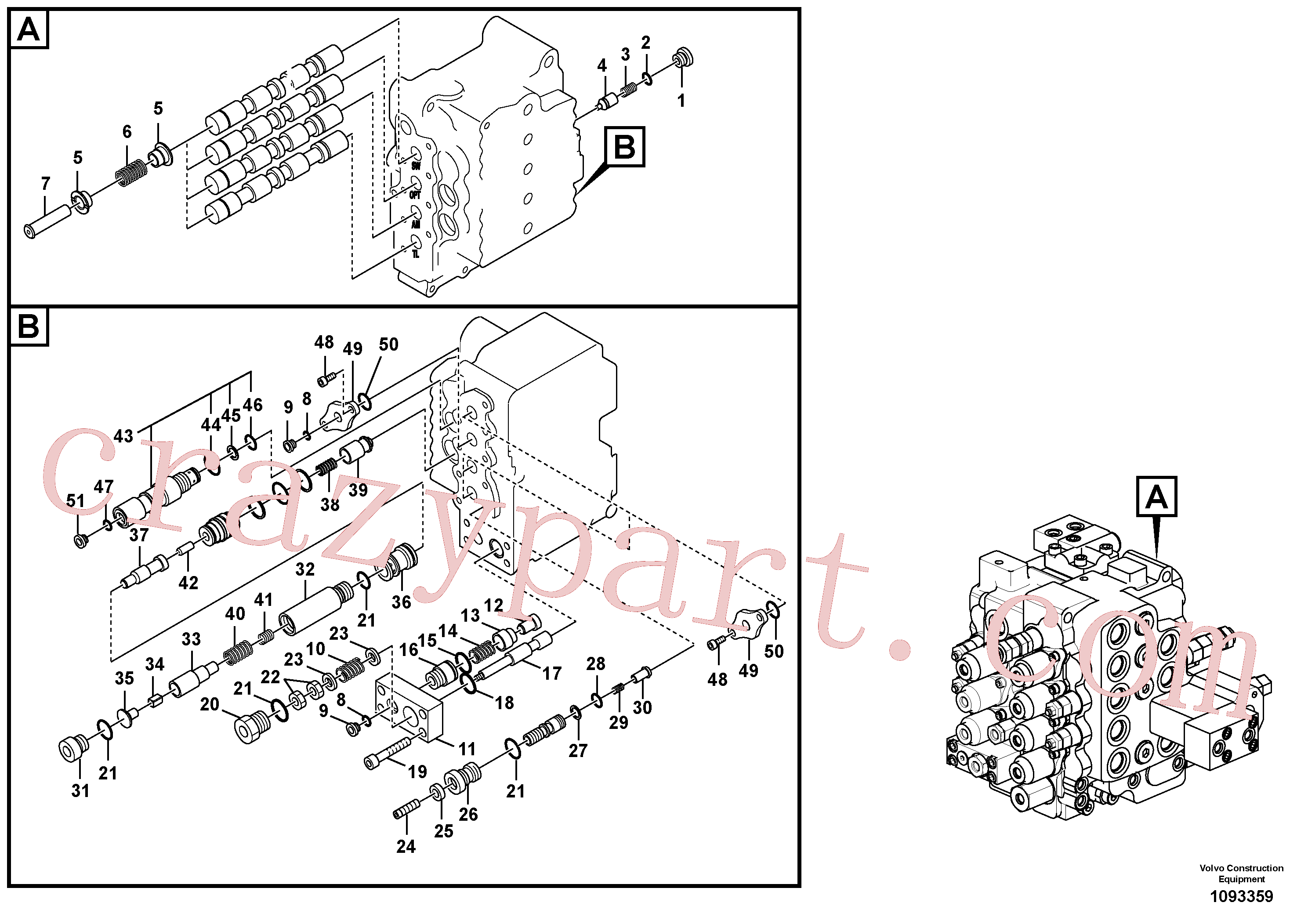 SA8230-10830 for Volvo Main control valve, swing and option and dipper arm and travel Lh(1093359 assembly)