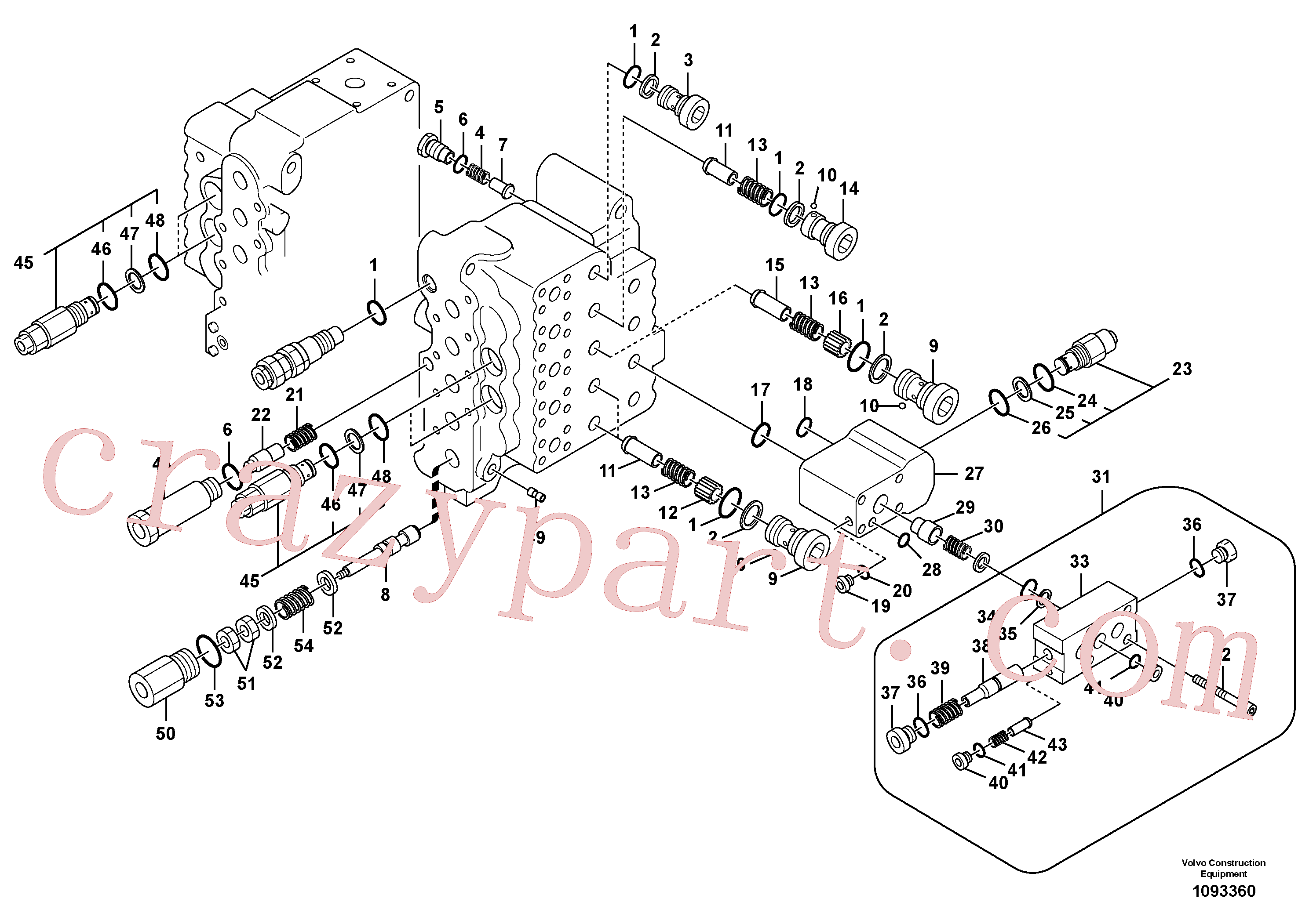 SA8230-11260 for Volvo Main control valve, relief valve and dipper arm holding(1093360 assembly)