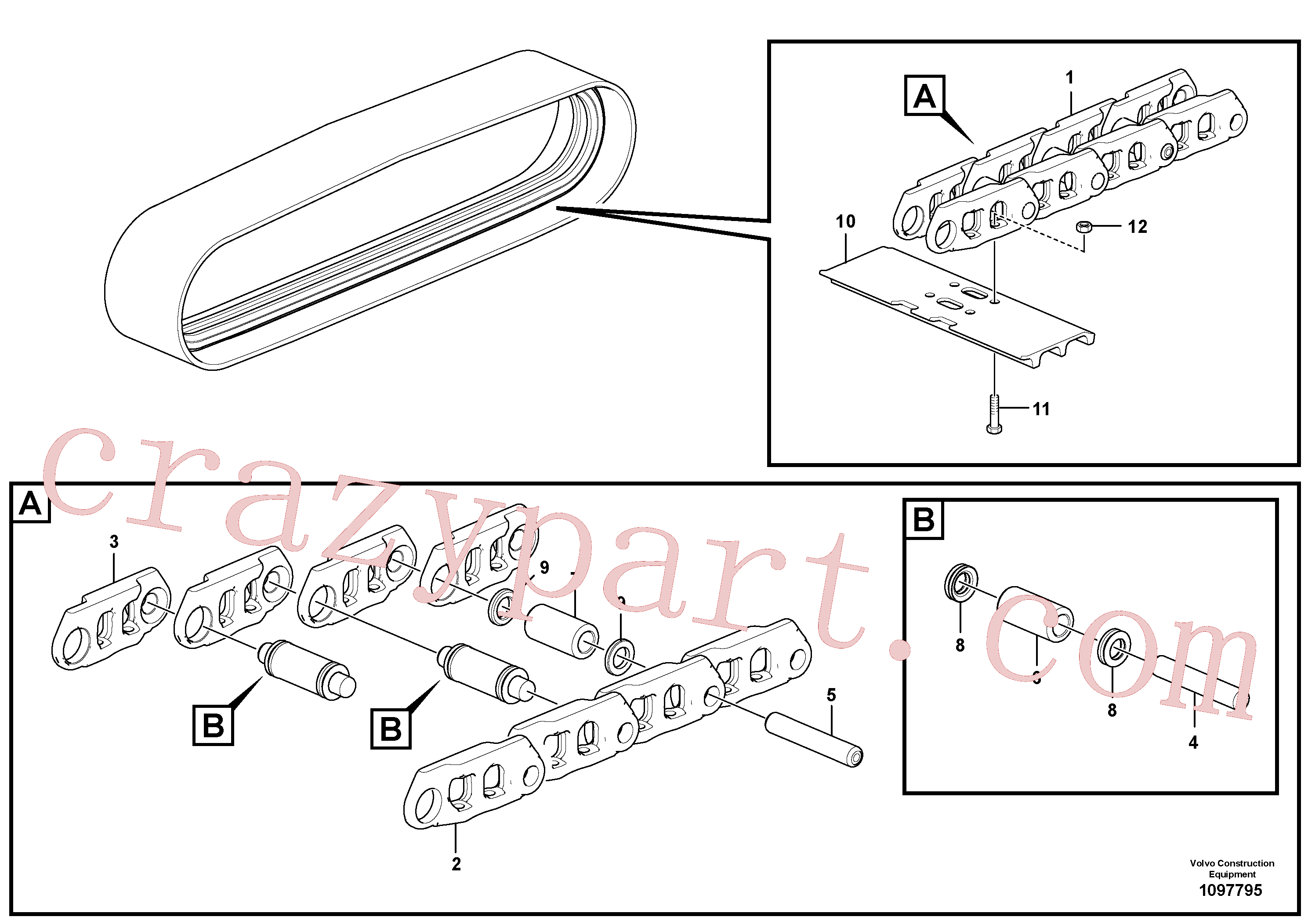 VOE997840 for Volvo Track chain(1097795 assembly)