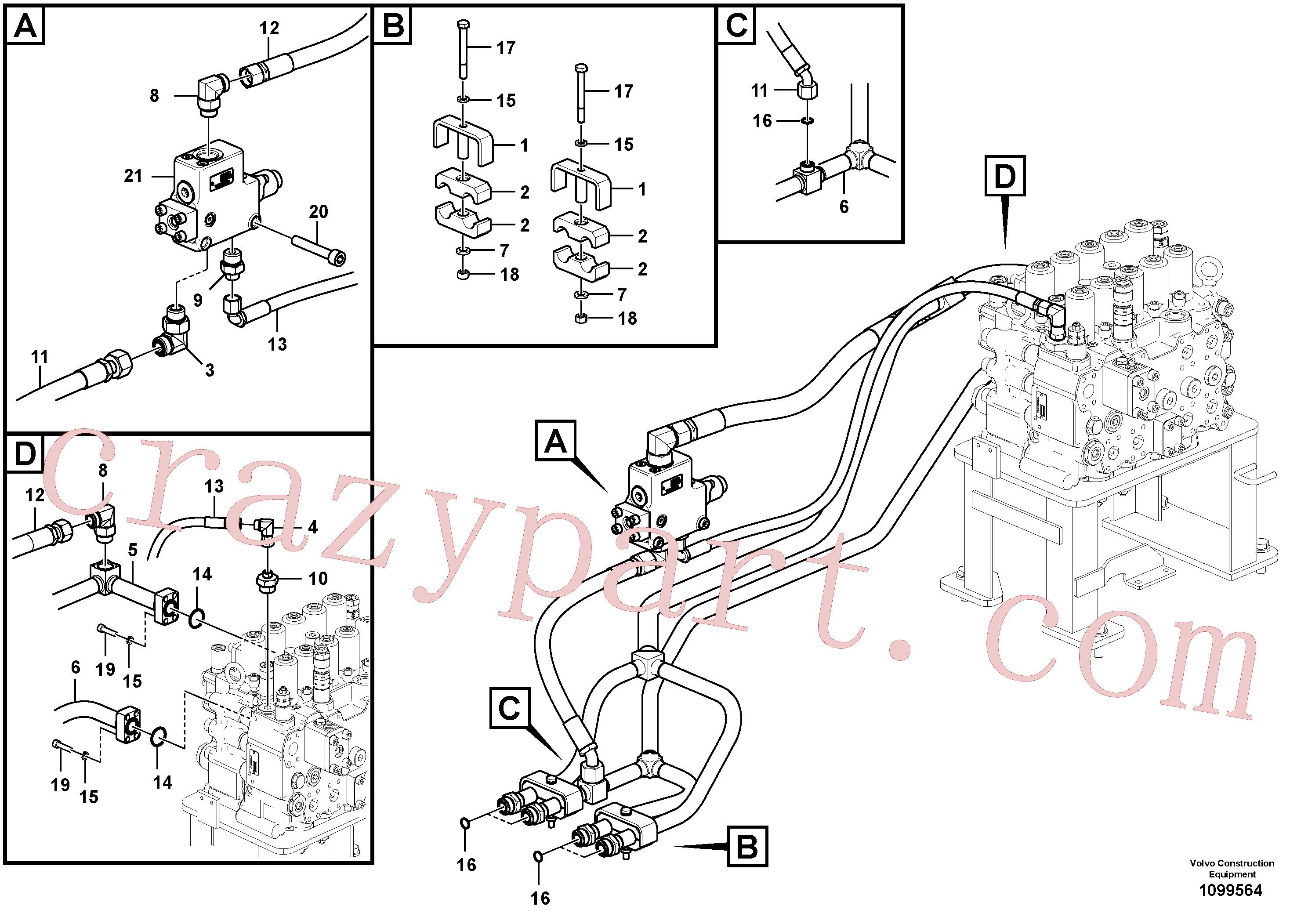 VOE937261 for Volvo Hydraulic system, control valve to boom(1099564 assembly)