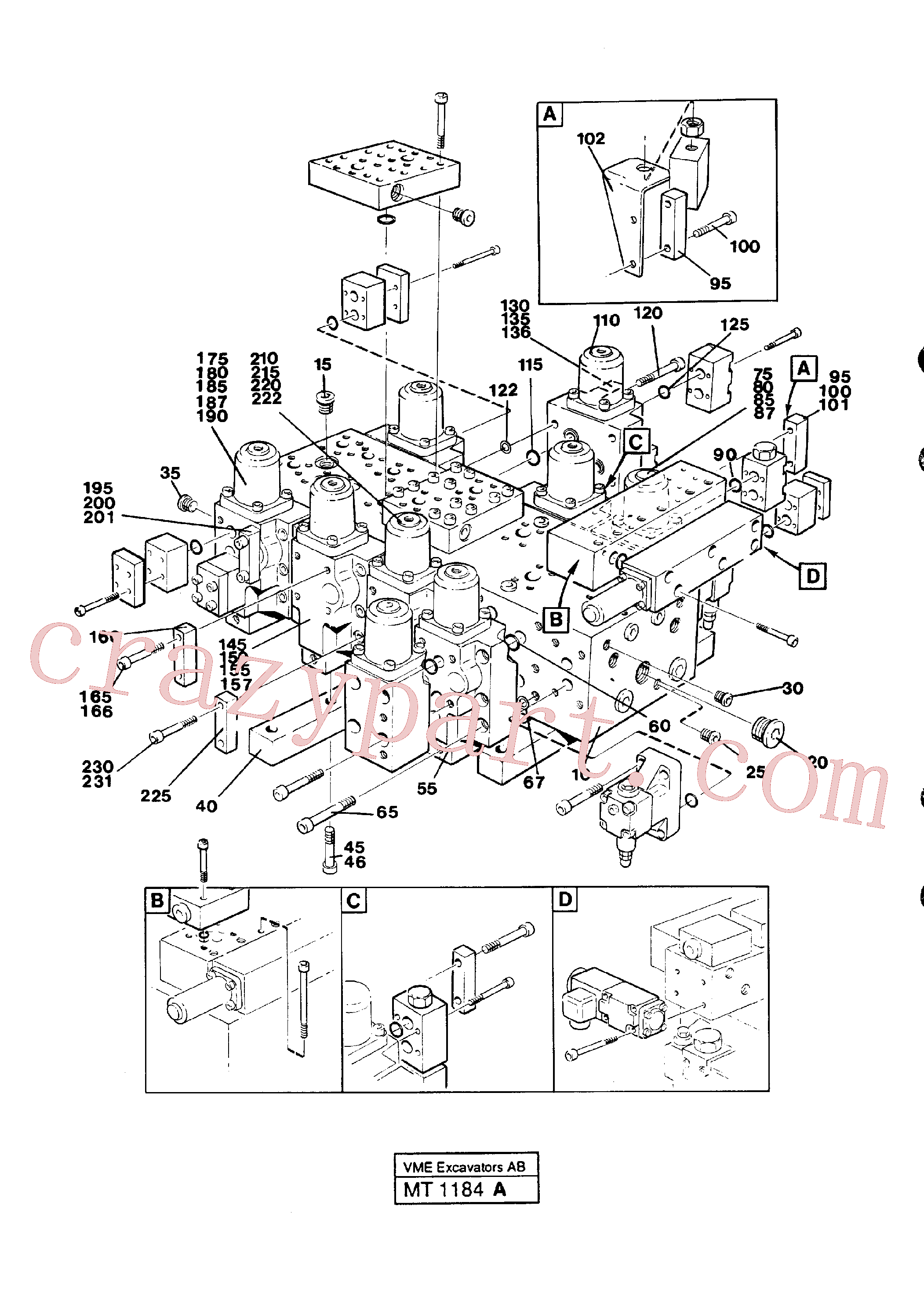 VOE959213 for Volvo Main valve assembly(1184A assembly)