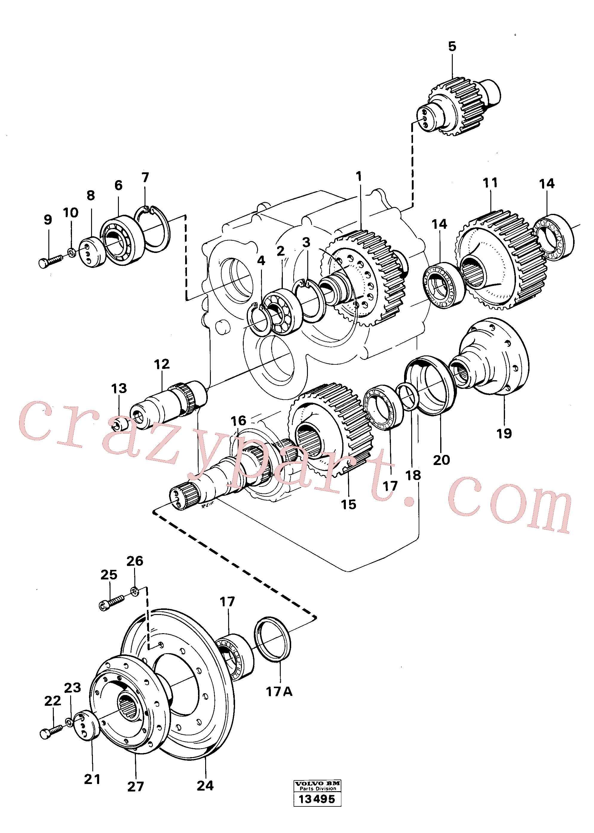 VOE951089 for Volvo Dropbox gears and shafts(13495 assembly)
