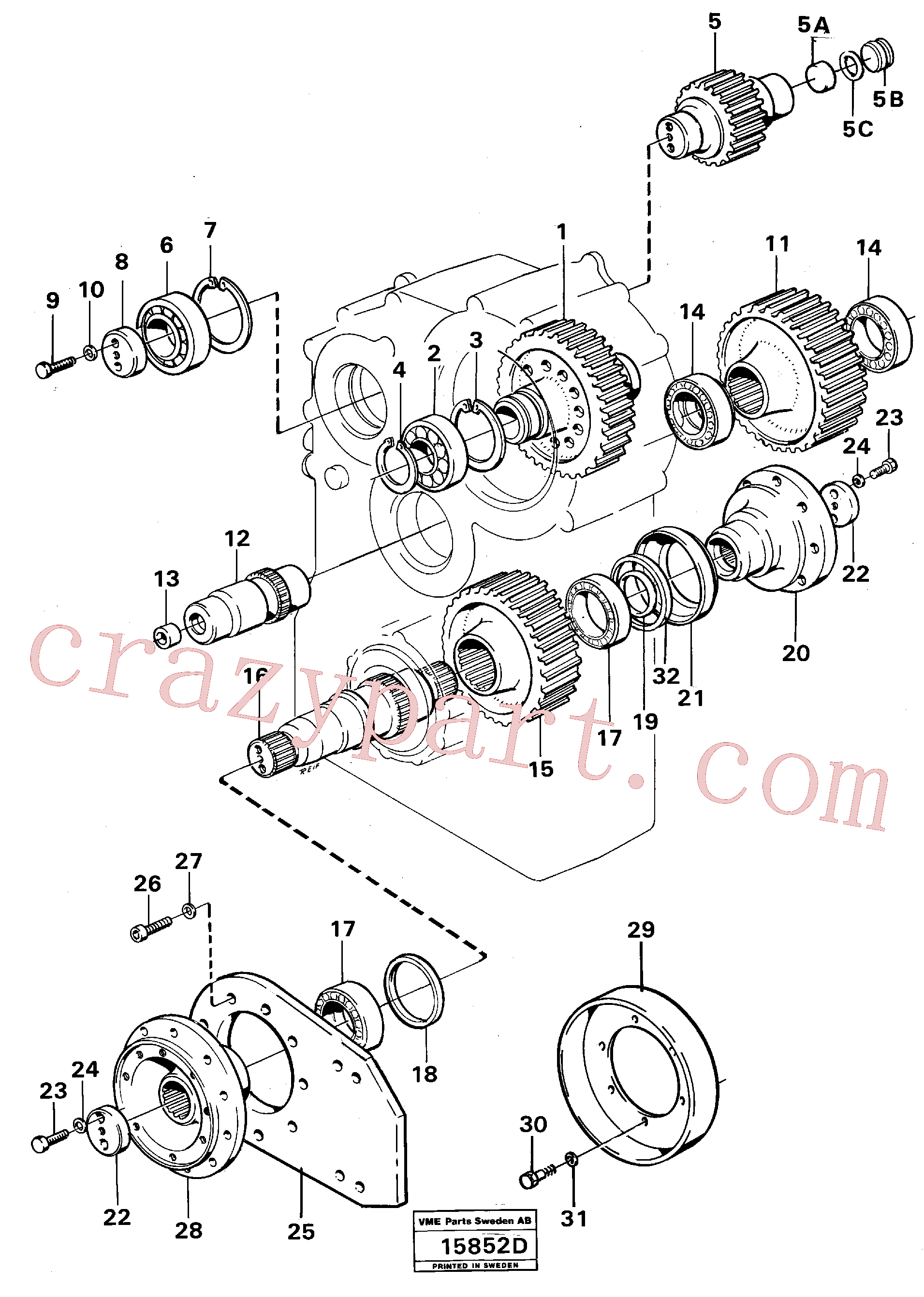 VOE14013019 for Volvo Transfer gearbox gears and shafts(15852D assembly)