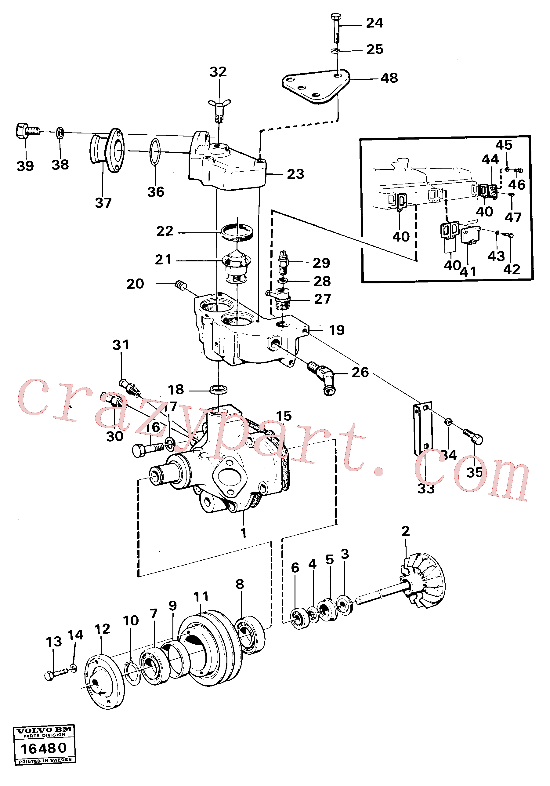 VOE940156 for Volvo Water pump with fitting parts, Water pump with fitting parts.(16480 assembly)