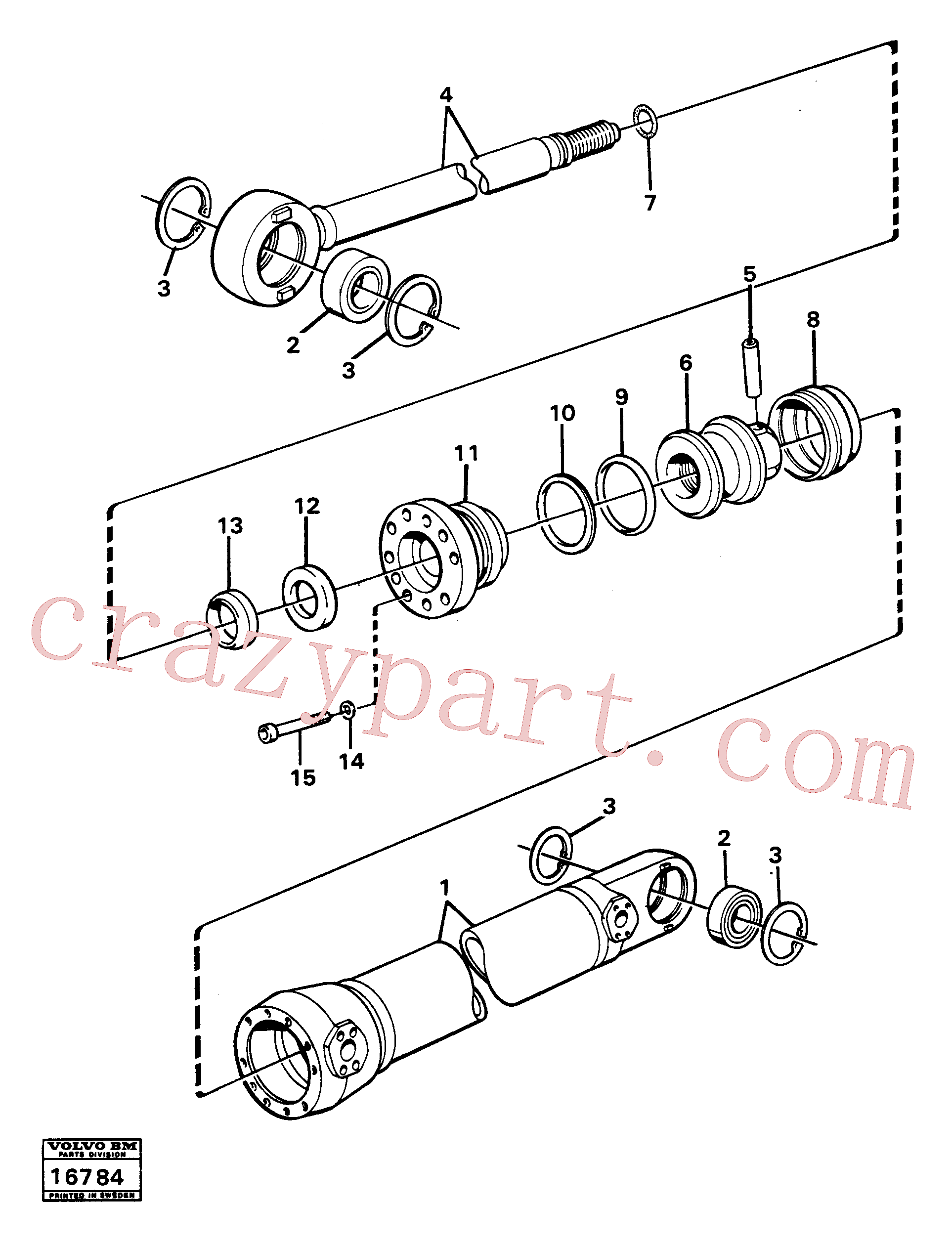 CH18340 for Volvo Steering cylinder, Hydraulic cylinder, Steering cylinder tillv nr 2601-, Hydraulic cylinder tillv nr 4526-(16784 assembly)