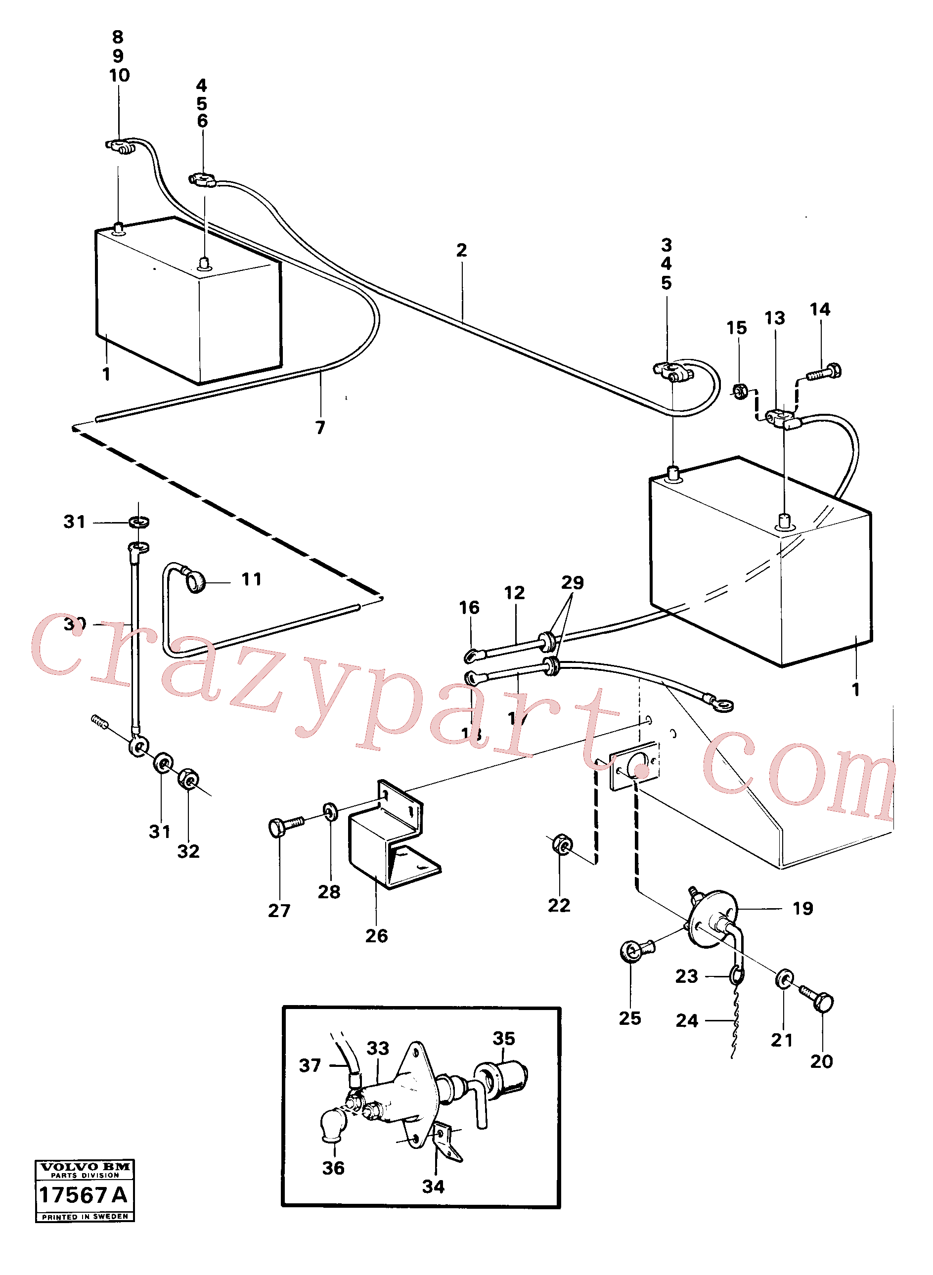 VOE971071 for Volvo Battery with assembling details(17567A assembly)