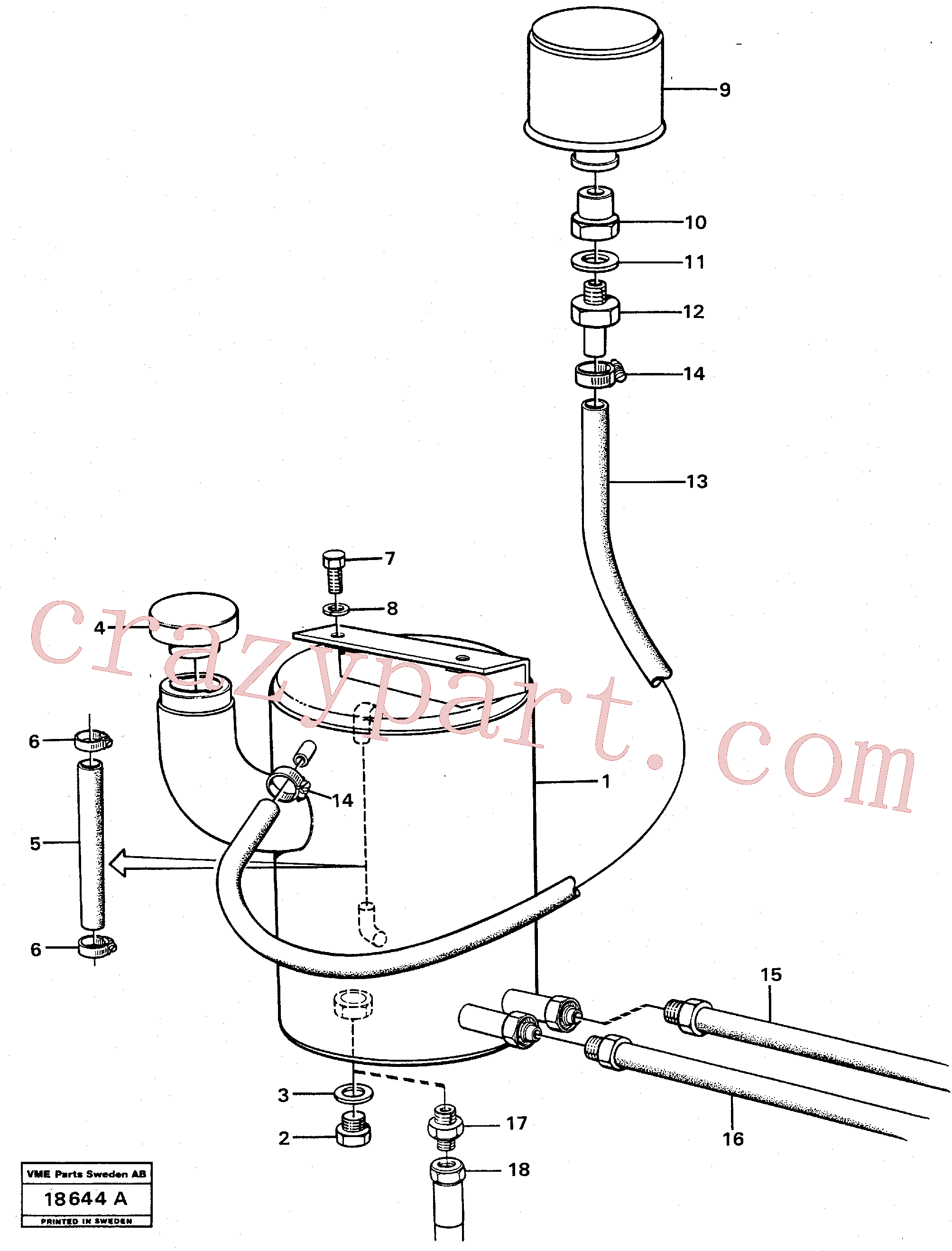 VOE421753 for Volvo Tank with fitting parts(18644A assembly)