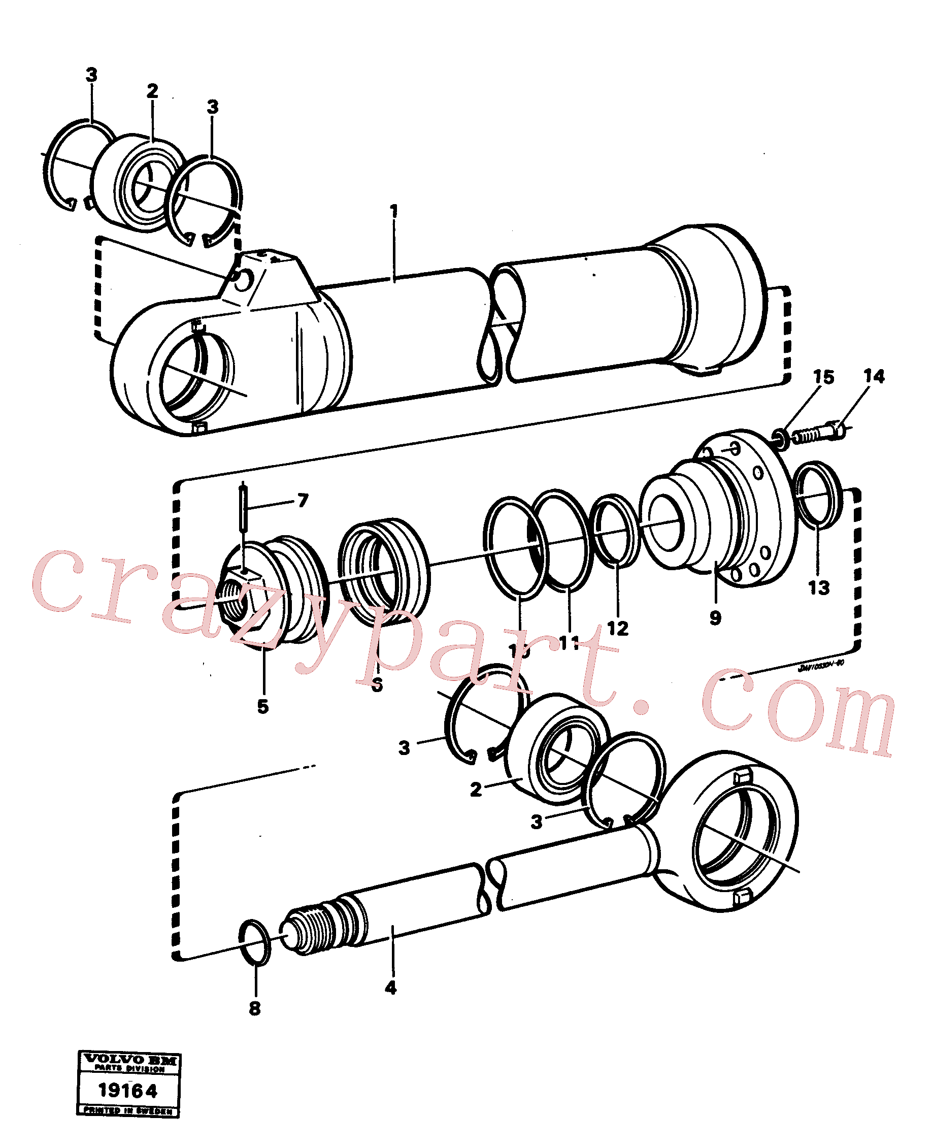 VOE184059 for Volvo Hydraulic cylinder tilting(19164 assembly)