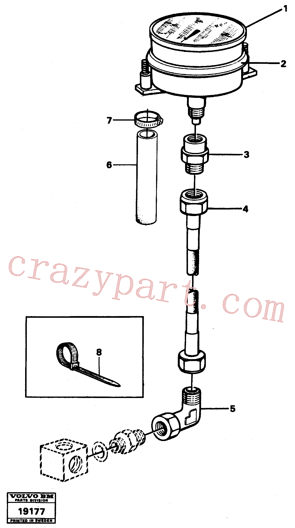VOE13963371 for Volvo Manometer with fitting parts(19177 assembly)