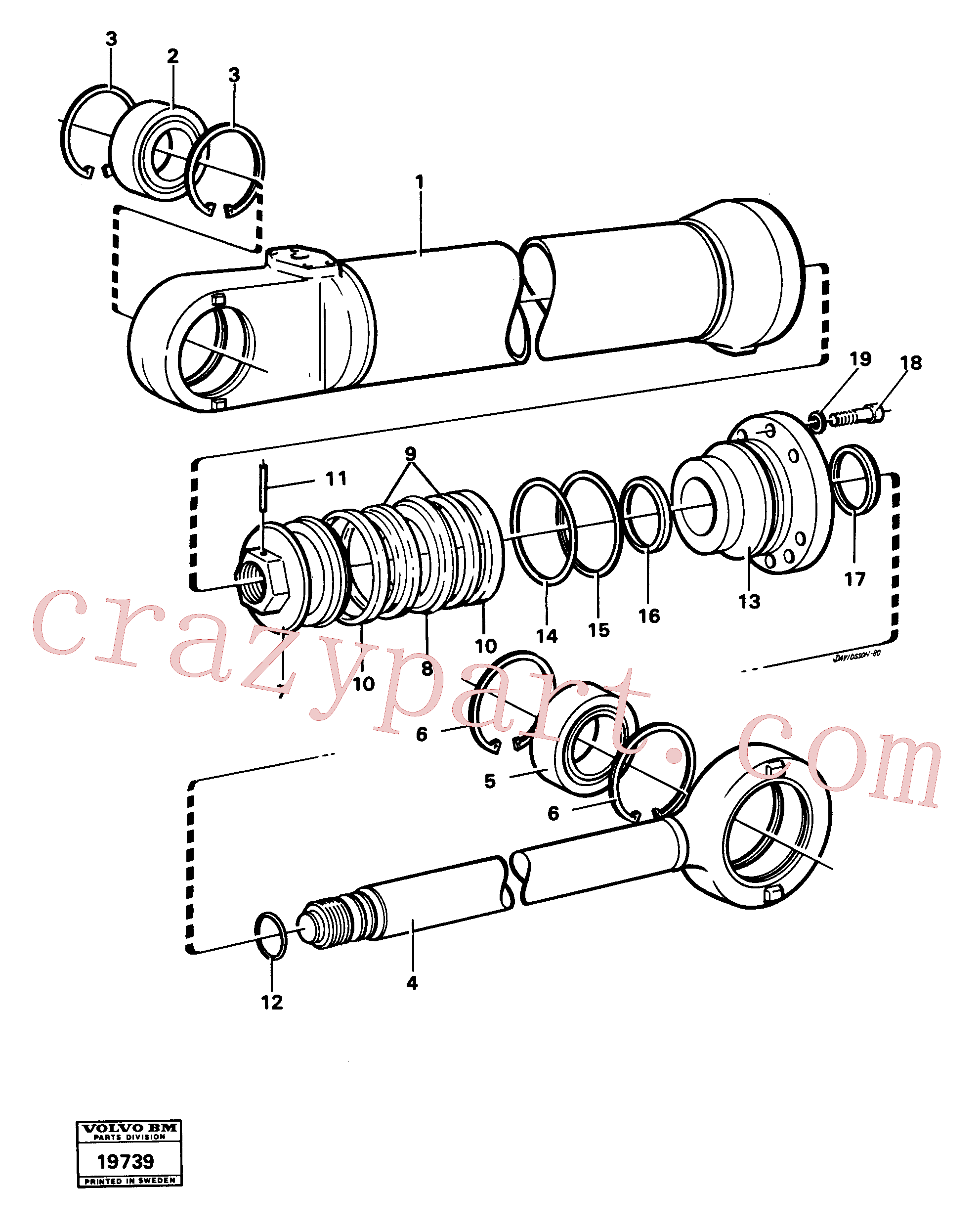 VOE183787 for Volvo Hydraulic cylinder lifting(19739 assembly)