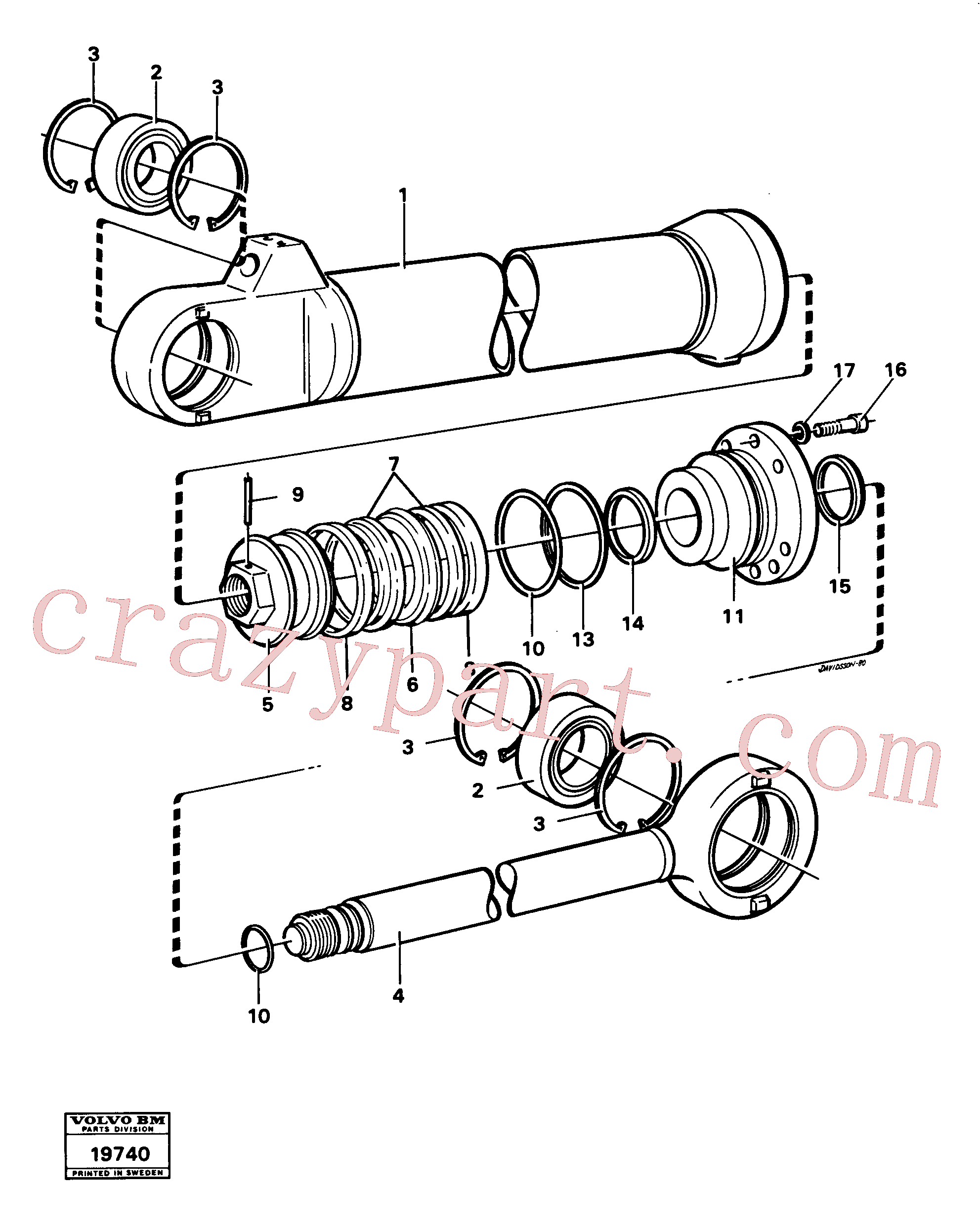 VOE4724499 for Volvo Hydraulic cylinder tilting(19740 assembly)